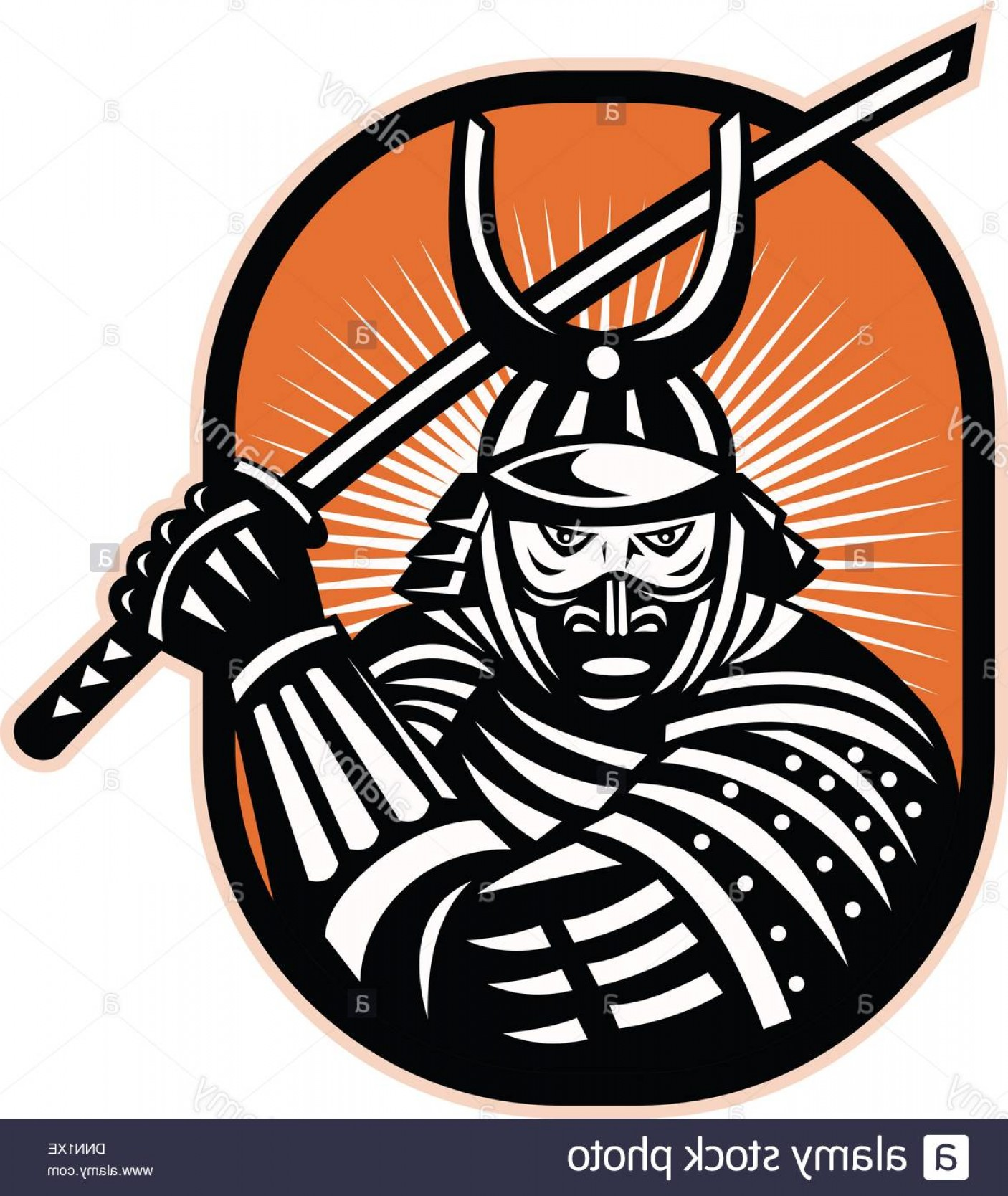 Samurai Warrior Vector: Stock Photo Retro Illustration Of A Samurai Warrior Brandishing Katana Sword Facing