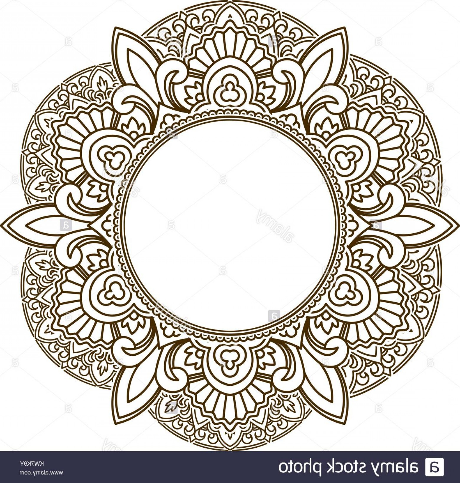Vector Art Henna: Stock Photo Rich Decorated Henna Frame Pattern With Round Centre Vector Decorative