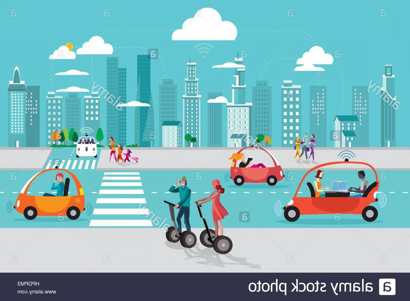 Vector Images Of Cars On Streets: Stock Photo Road In The City With Autonomous Driverless Cars And People Walking