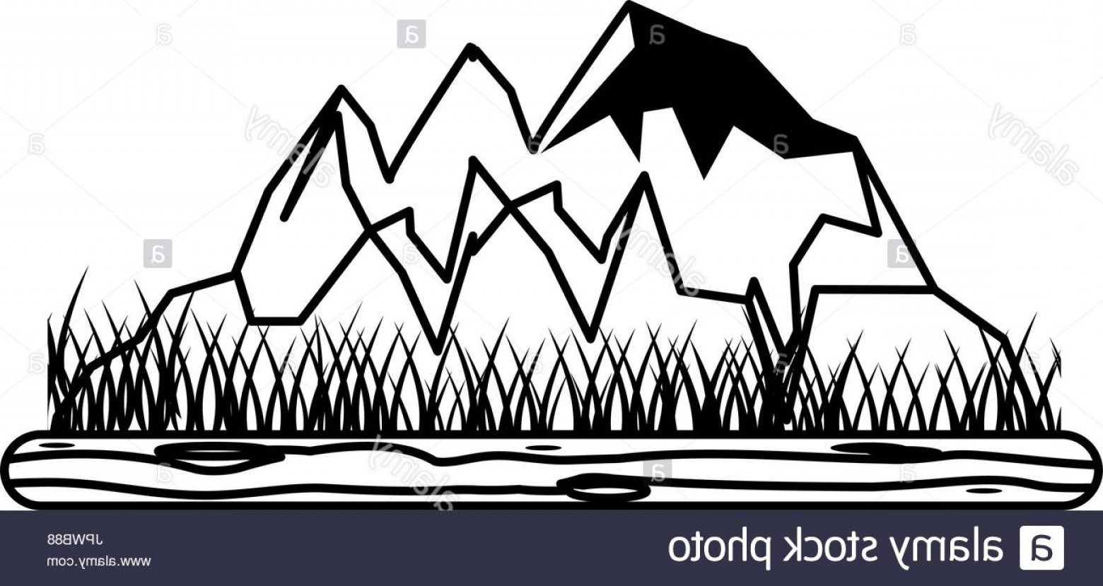 Rocky Mountain Line Art Vector: Stock Photo Rocky Mountain With Snow Icon Image