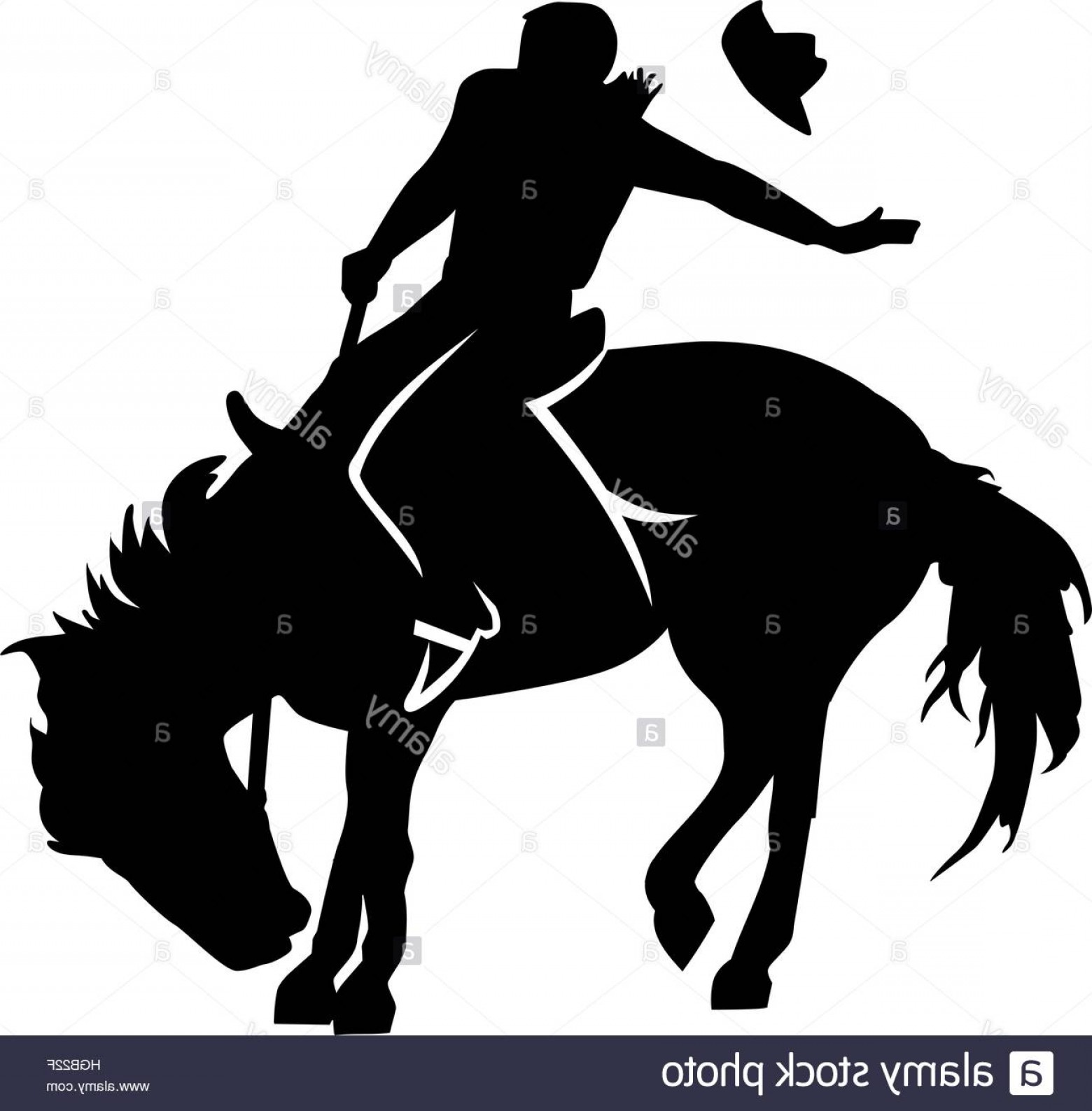 Barrel Racer Vector: Stock Photo Rodeo Riding Silhouette