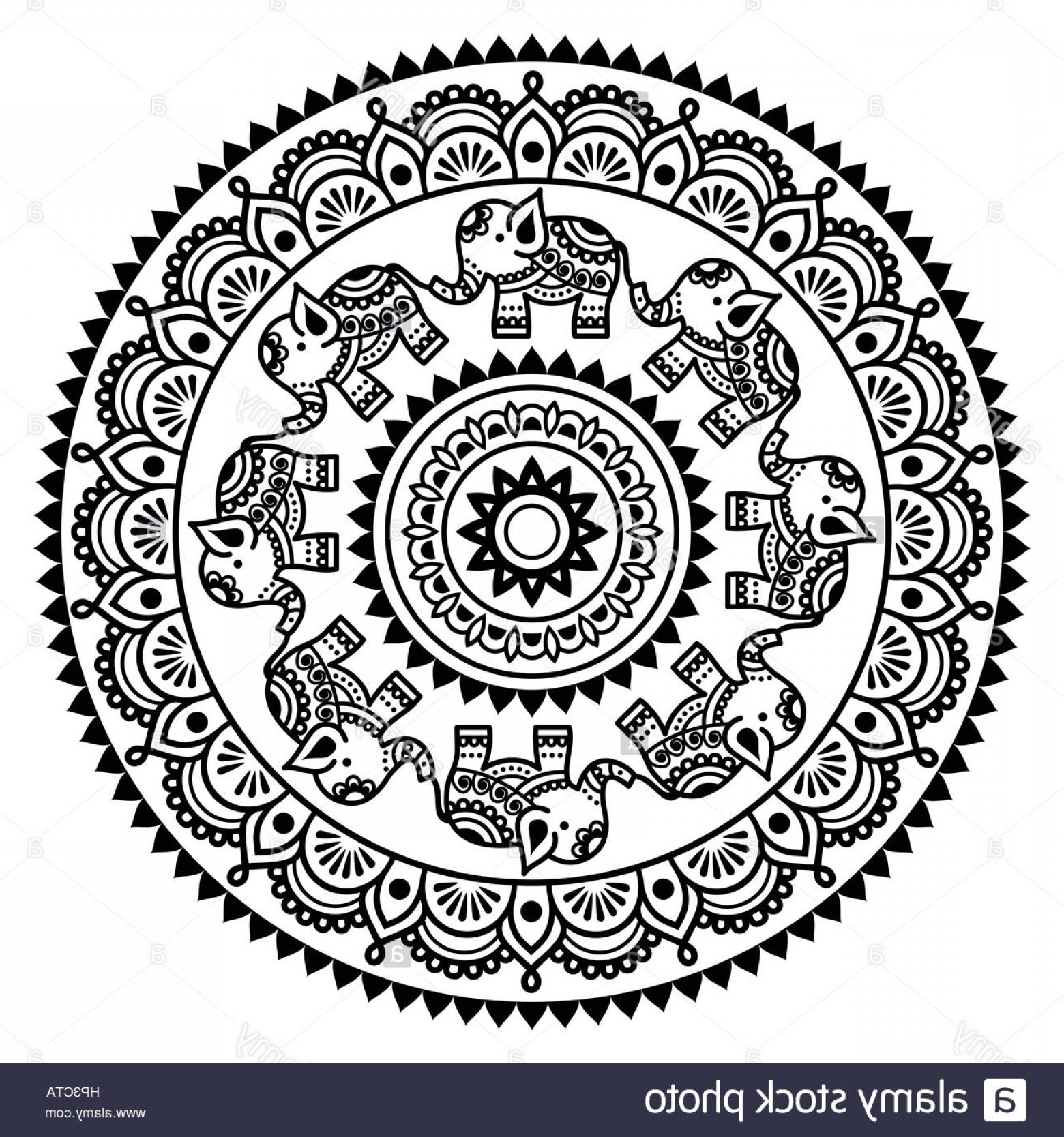 Vector Art Henna: Stock Photo Round Mehndi Indian Henna Tattoo Pattern