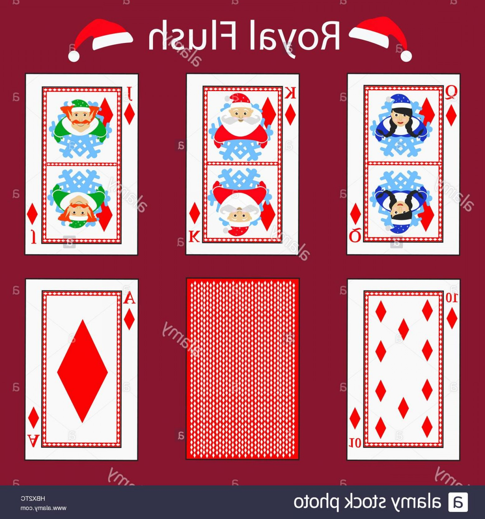 10 Playing Card Vector: Stock Photo Royal Flus Playing Card Poker Combination Vector Illustration Eps