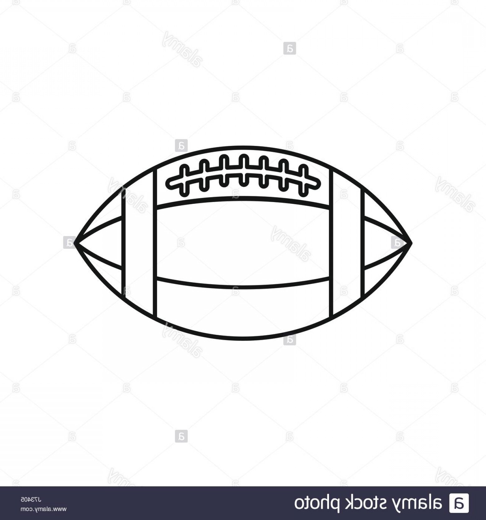 Vector Football Laces And Lines: Stock Photo Rugby Ball Icon Outline Style