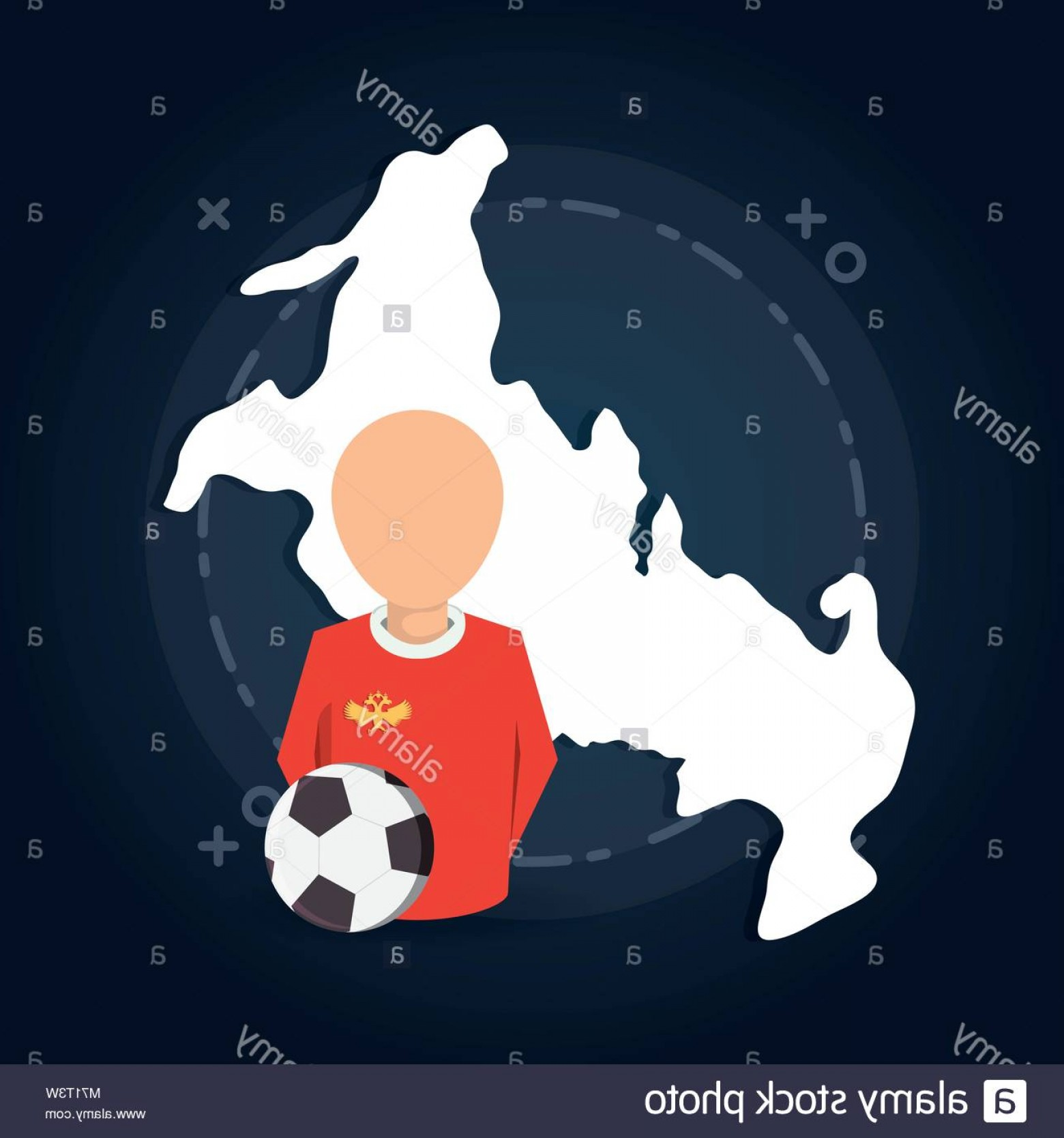 Soccer Blue Background Vector Graphics: Stock Photo Russia Map And Avatar Soccer Player Over Blue Background Colorful