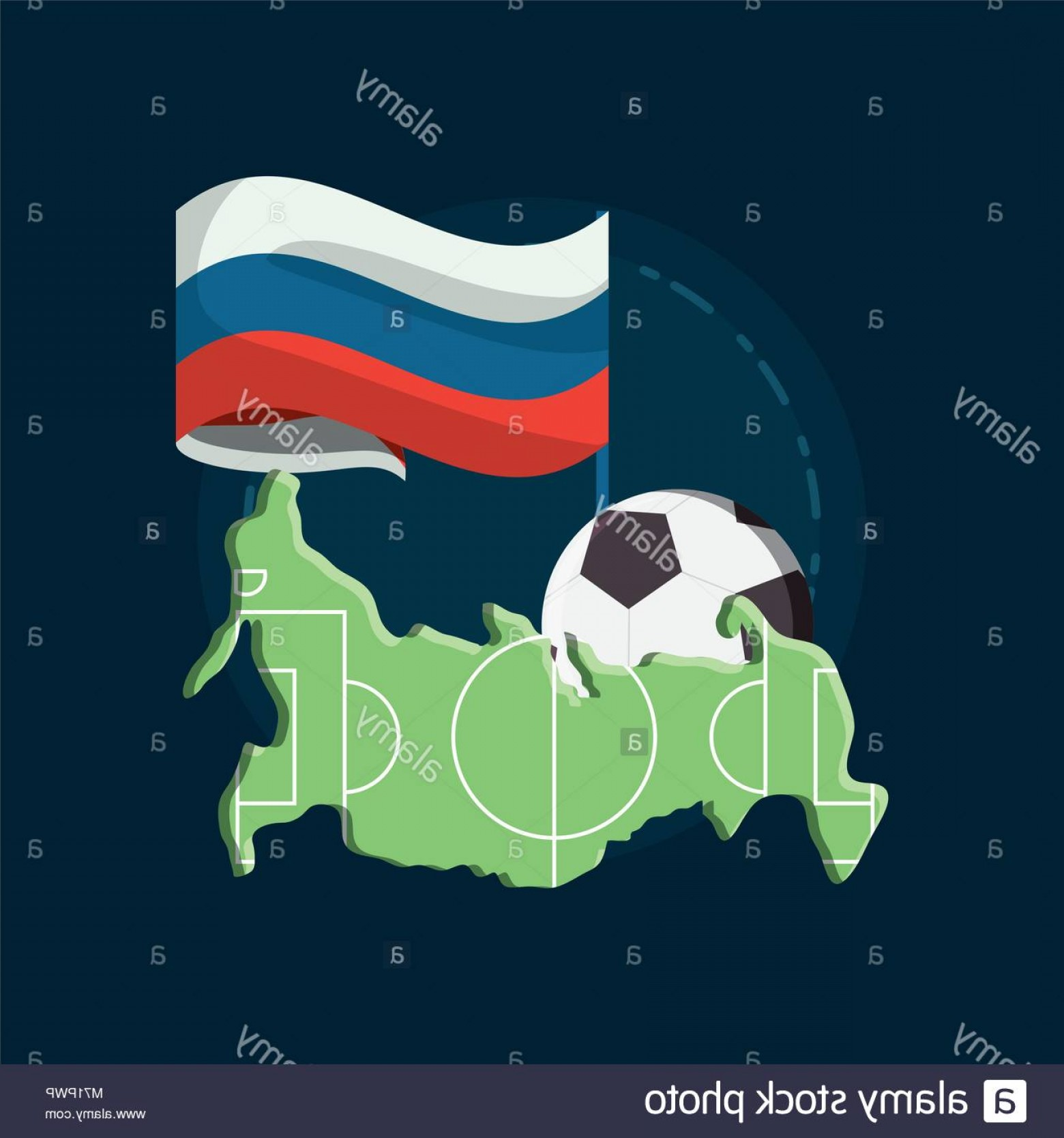 Soccer Blue Background Vector Graphics: Stock Photo Russian Flag And Map With Soccer Ball Over Blue Background Colorful