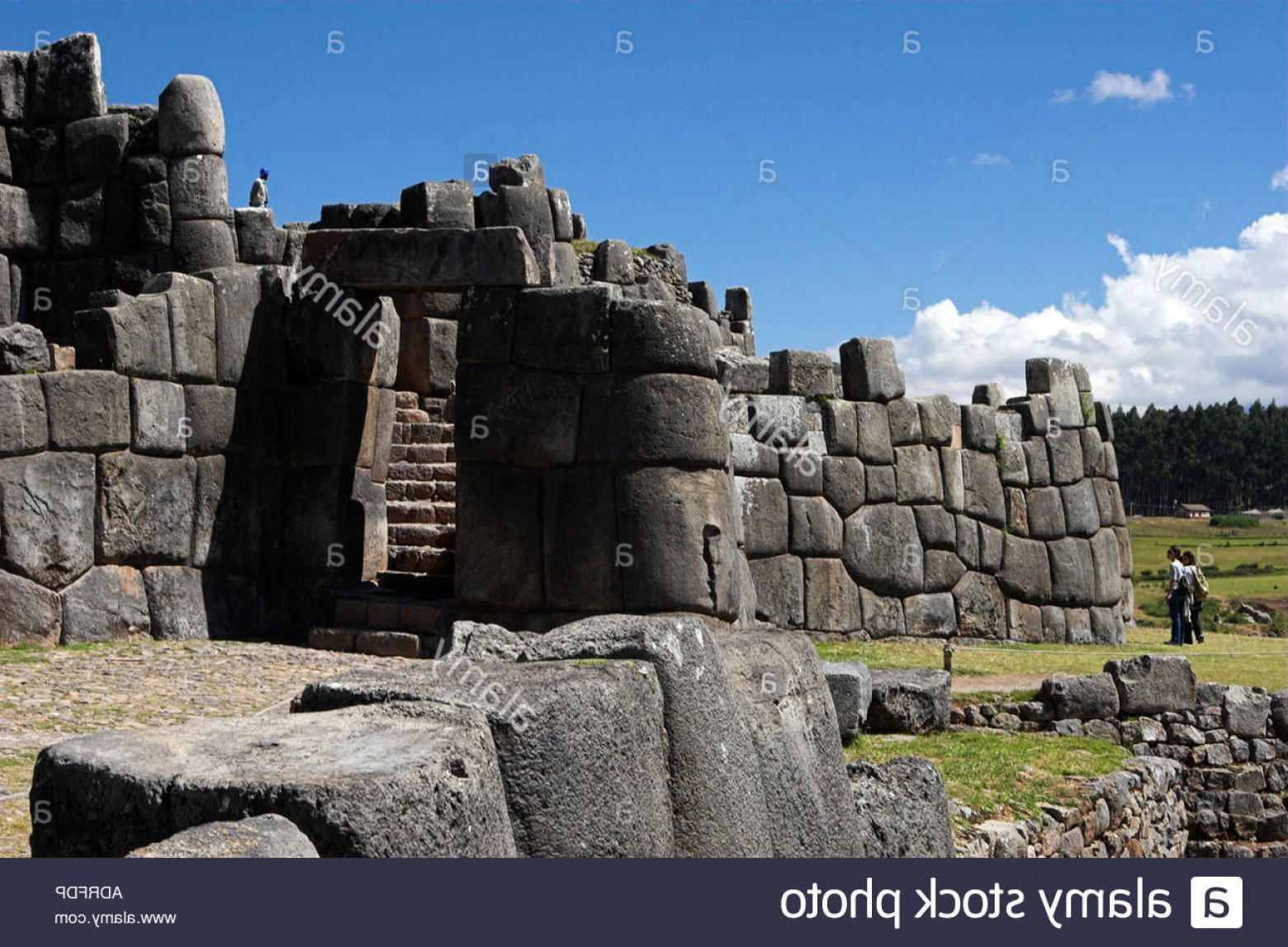 Vector South America Ancient Ruins: Stock Photo Sacsayhuaman Inca Fortress Ruins Door In Ancient Stone Terrace Wall