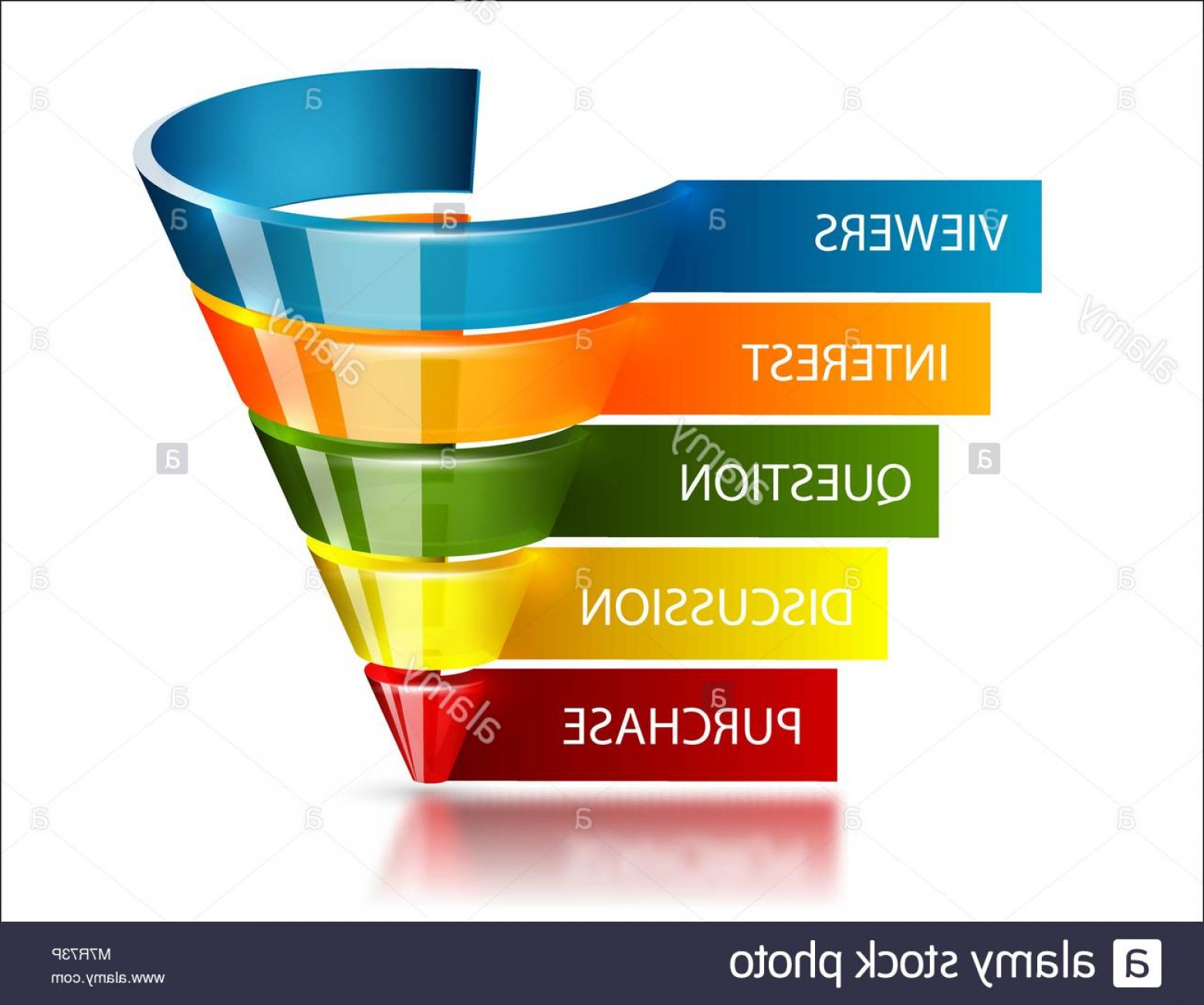 Vector Funnel Infographic: Stock Photo Sales Funnel For Marketing Infographic Glossy Transparent Glass Vector