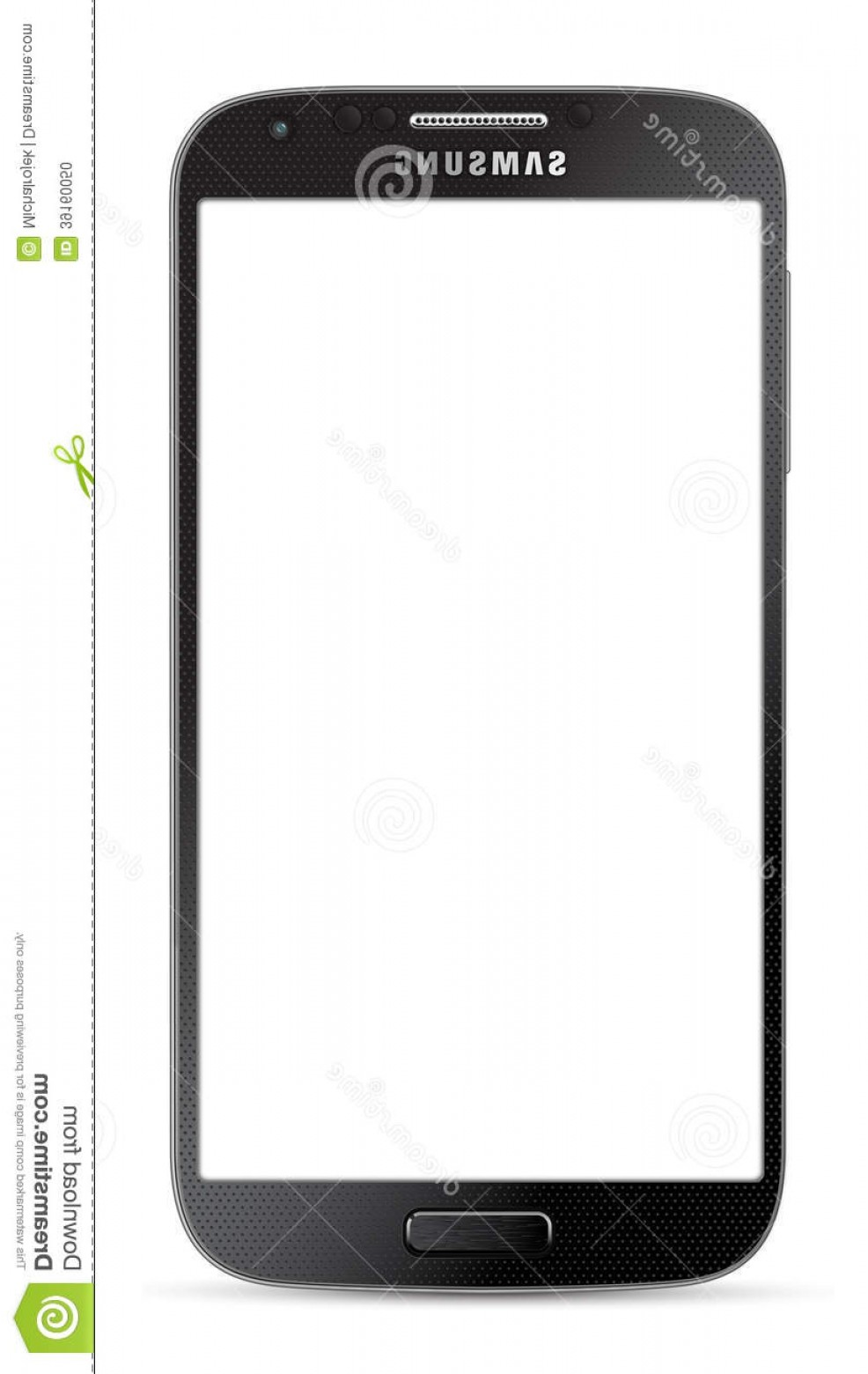 Vector Galaxy S4: Stock Photo Samsung Galaxy S Black Isolated White Background Vector Illustration Image