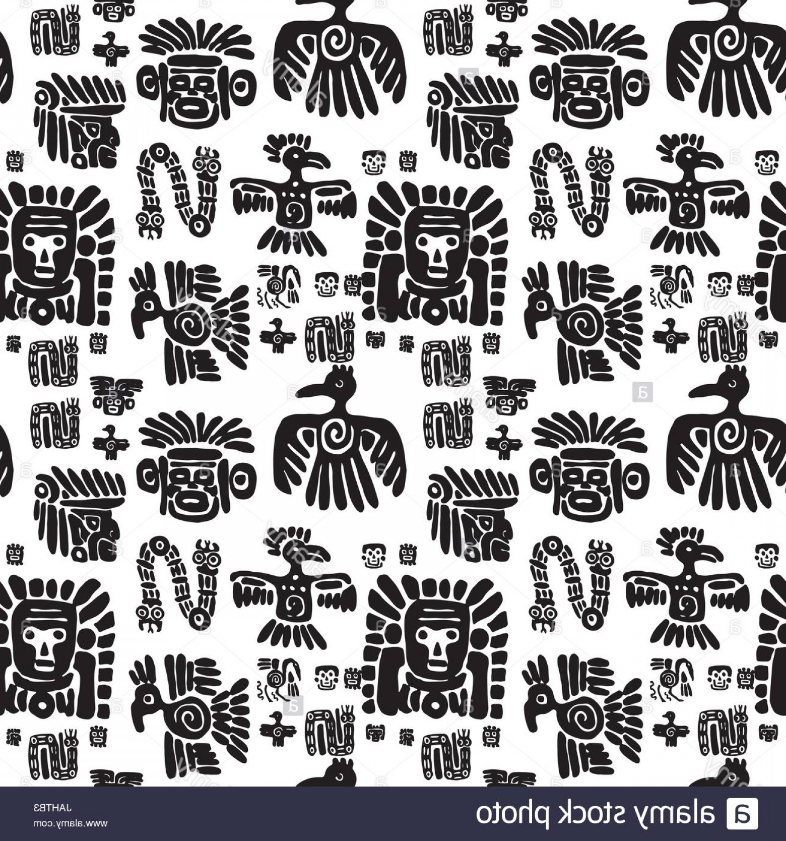 Mayan Vector: Stock Photo Seamless Vector Maya Pattern Black And White Ethnic Elements Tribal