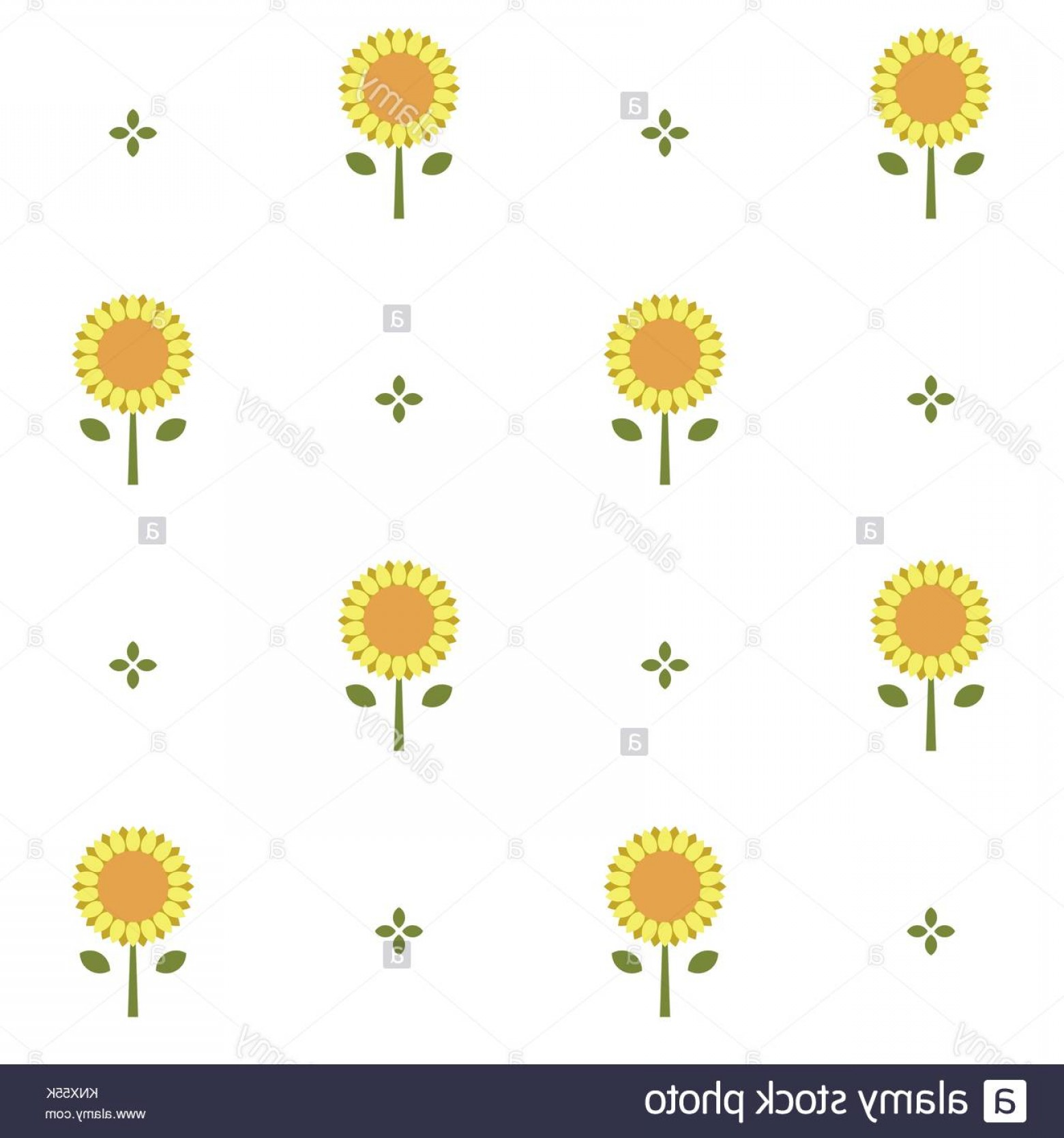 Sunflower Vector Pattern: Stock Photo Seamless Vector Pattern With Sunflowers In White Background Geometric