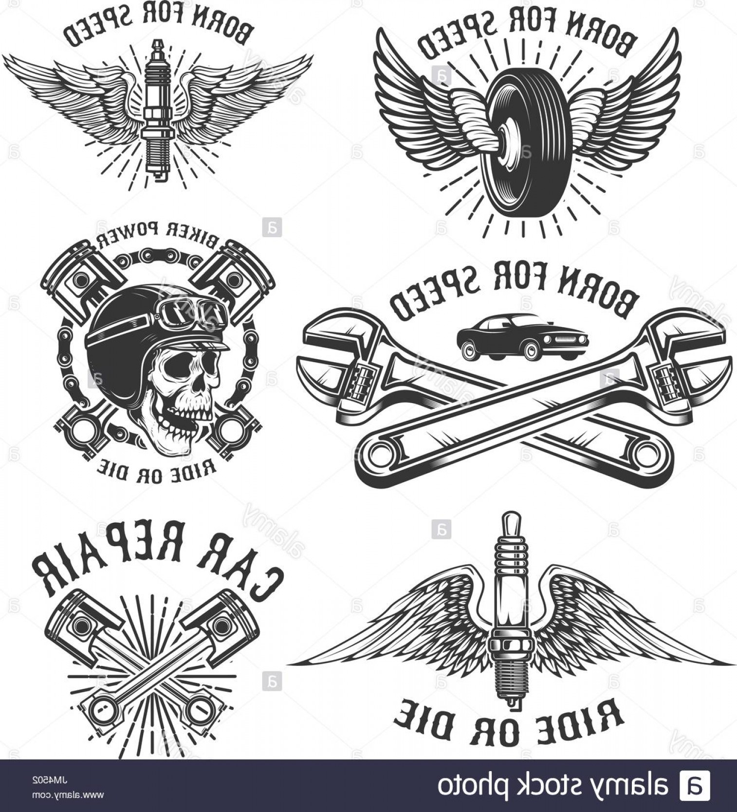 Detroit Red Wings Vector Art: Stock Photo Set Of Car Repair And Racing Emblems Spark Plug With Wings Racer Skull