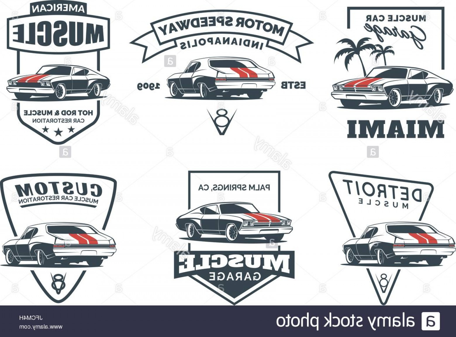Custom Police Cars Vector: Stock Photo Set Of Classic Muscle Car Logo Emblems Badges And Icons Isolated On