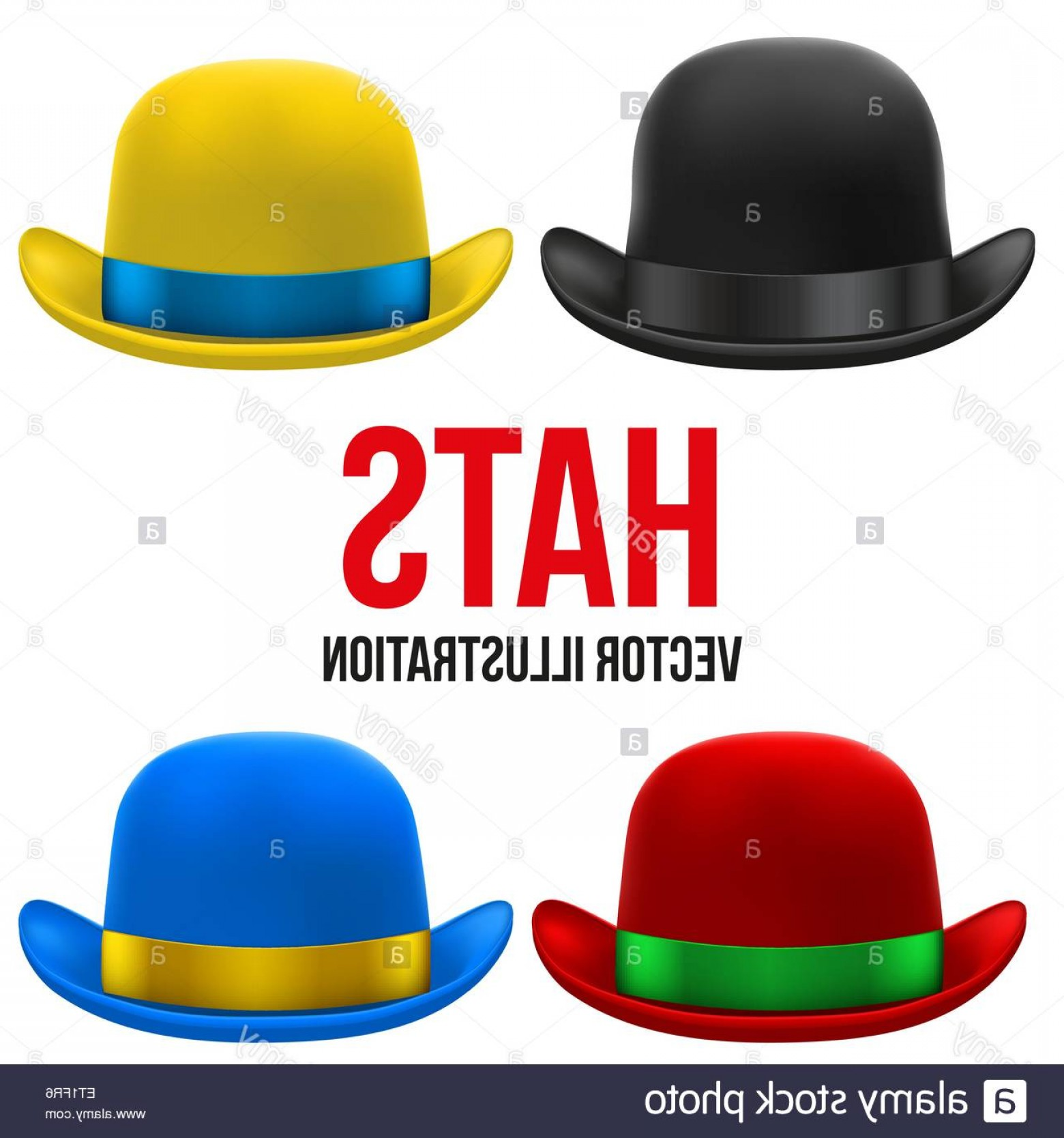 Bowler Hat Vector: Stock Photo Set Of Colorful Bowler Hats Vector Illustration