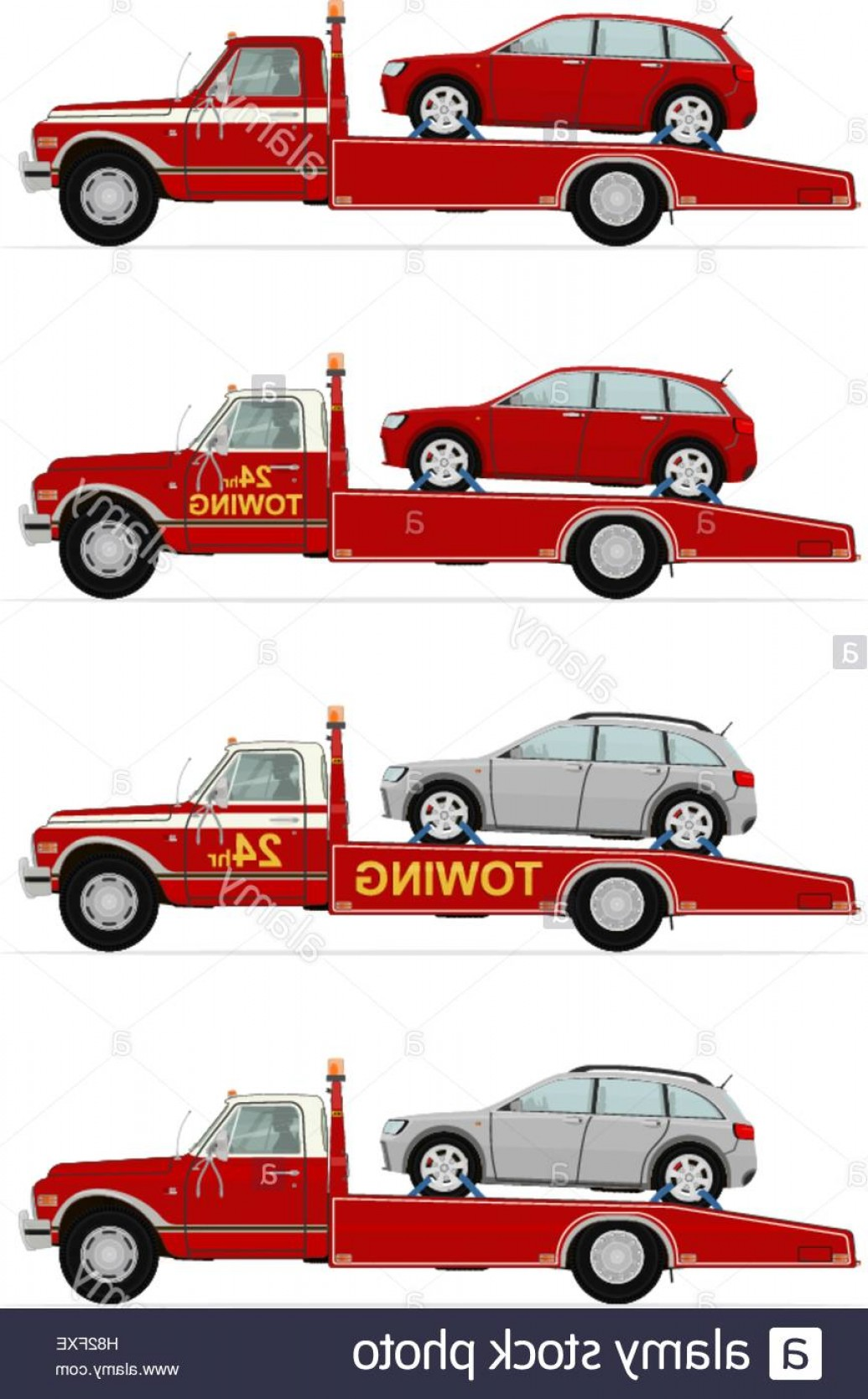 Towing Vector Clip Art: Stock Photo Set Of Four Tow Truck Carrying The Car Side View Flat Vector