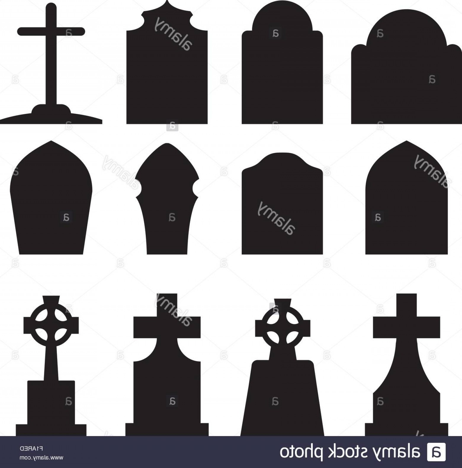Gravestone Black And Whit Vector JPEG: Stock Photo Set Of Headstone And Tombstone Silhouette In Europe Style Vector Illustration