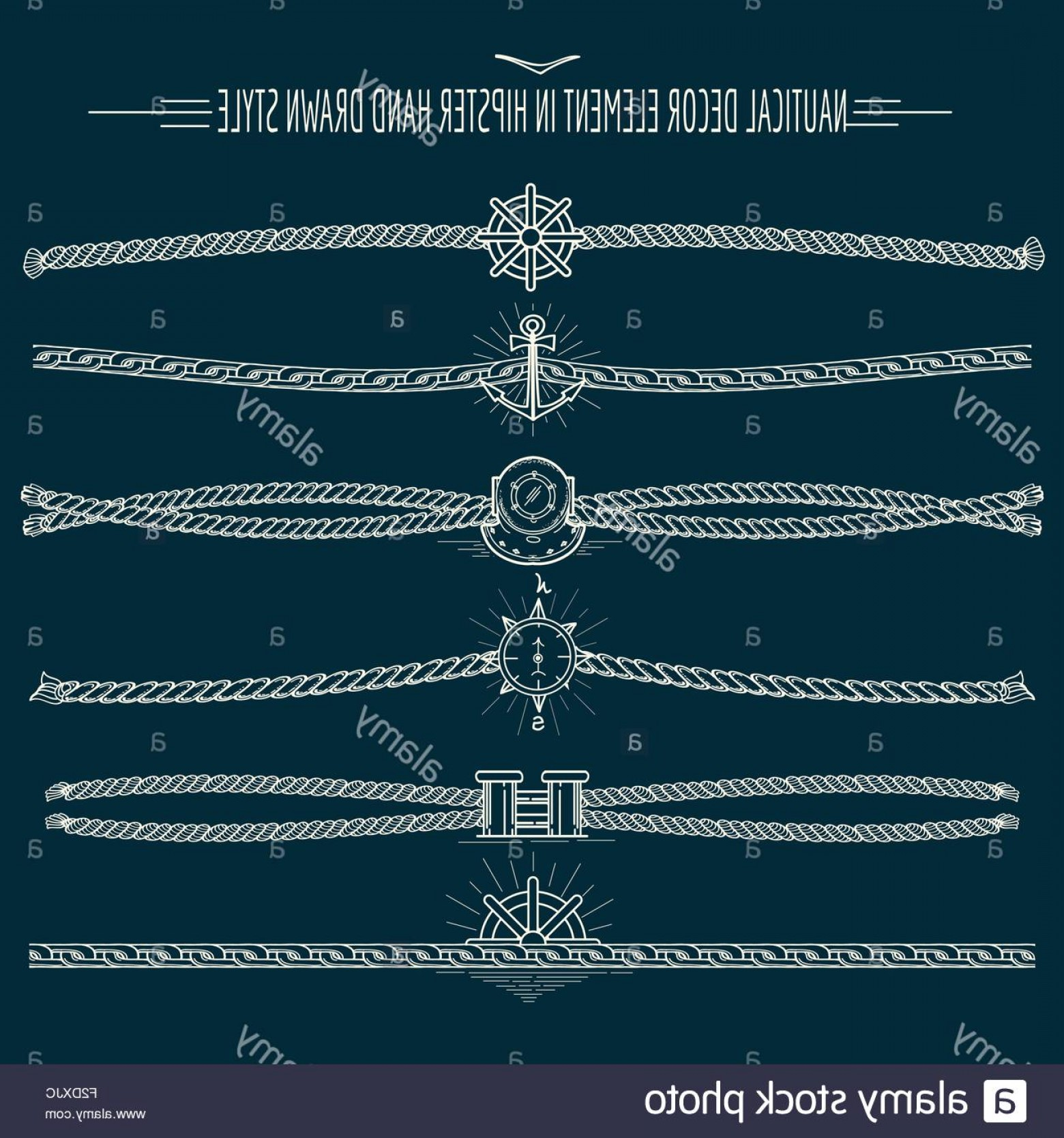 Nautical Text Divider Vector: Stock Photo Set Of Nautical Ropes And Chains Decor Elements In Hipster Style Hand