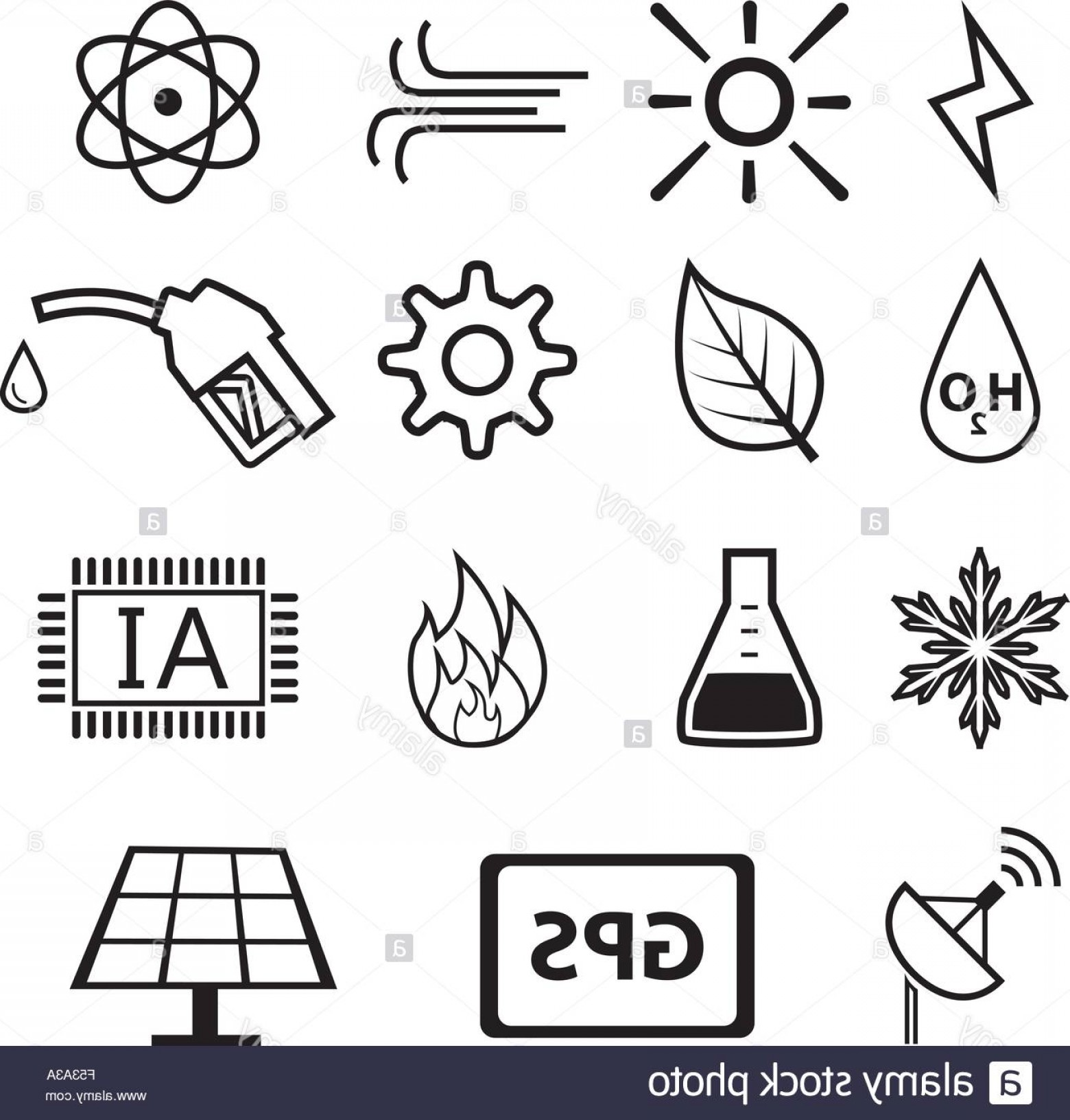 Air Conditioners Stabilizer Vector: Stock Photo Set Of Power And Energy System In Linear Icons Vector