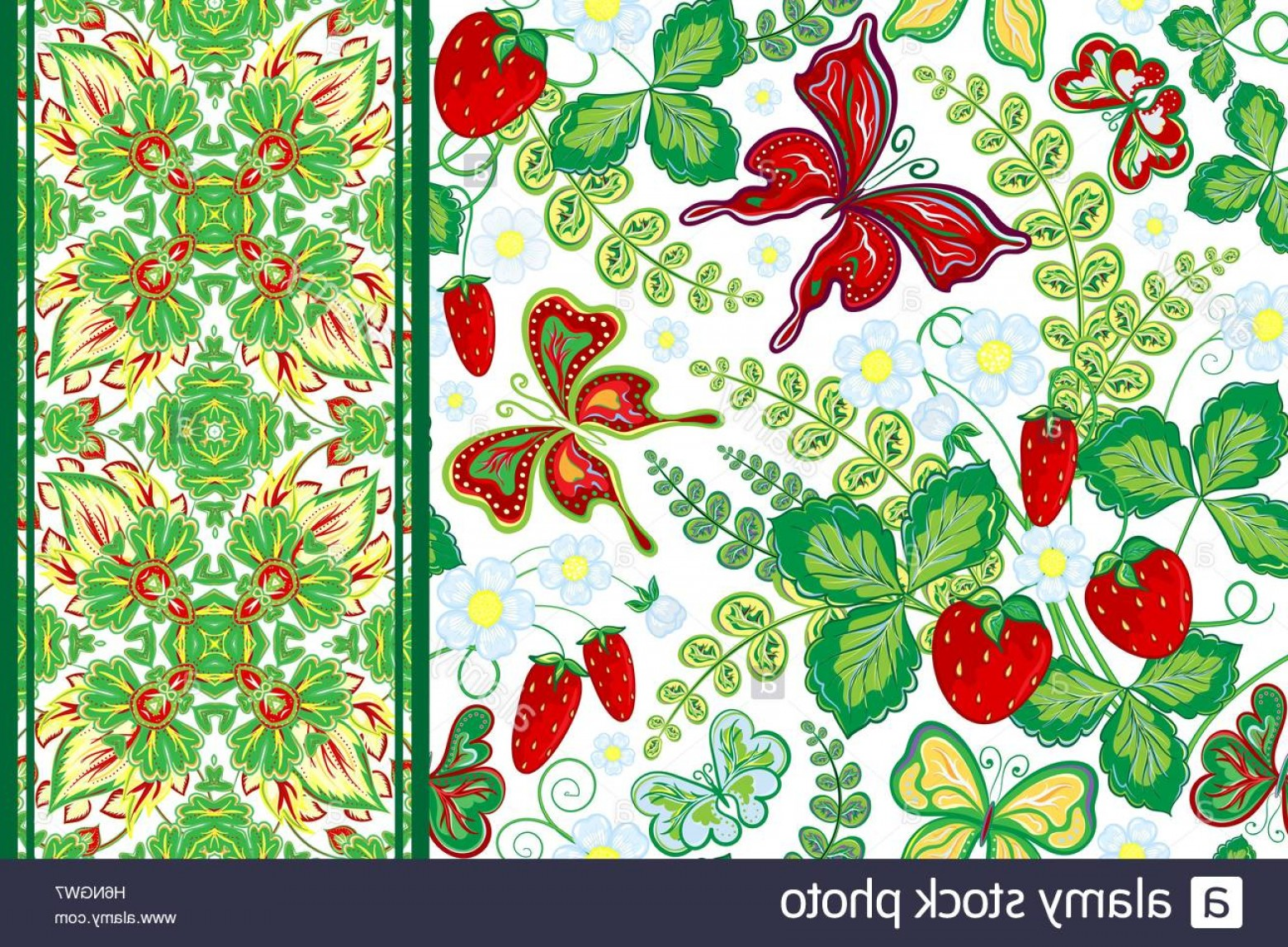 Vector Flower Band: Stock Photo Set Of Seamless Hand Draw Floral Pattern With Strawberry And Butterfly
