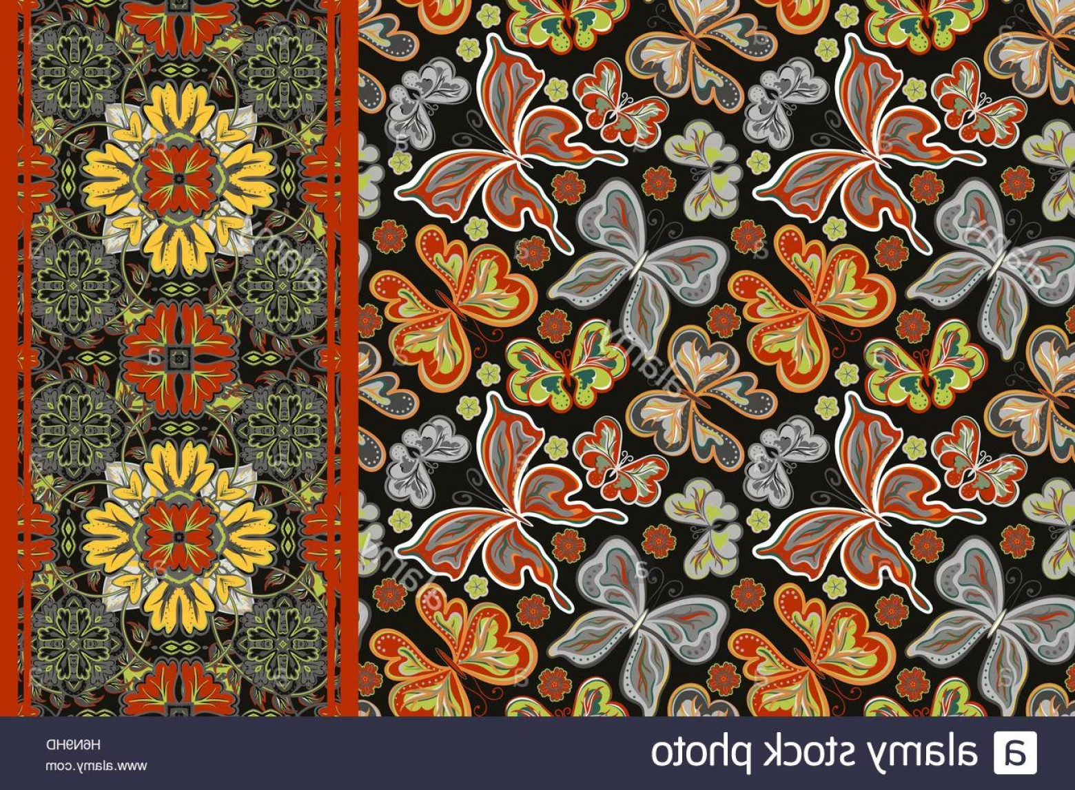 Vector Flower Band: Stock Photo Set Of Seamless Pattern With Colorful Vintage Butterflies And Flowers