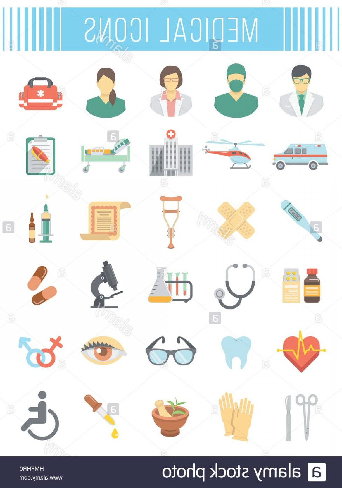 Vector Health Insurance: Stock Photo Set Of Vector Flat Icons Related To Subject Of Medicine First Aid