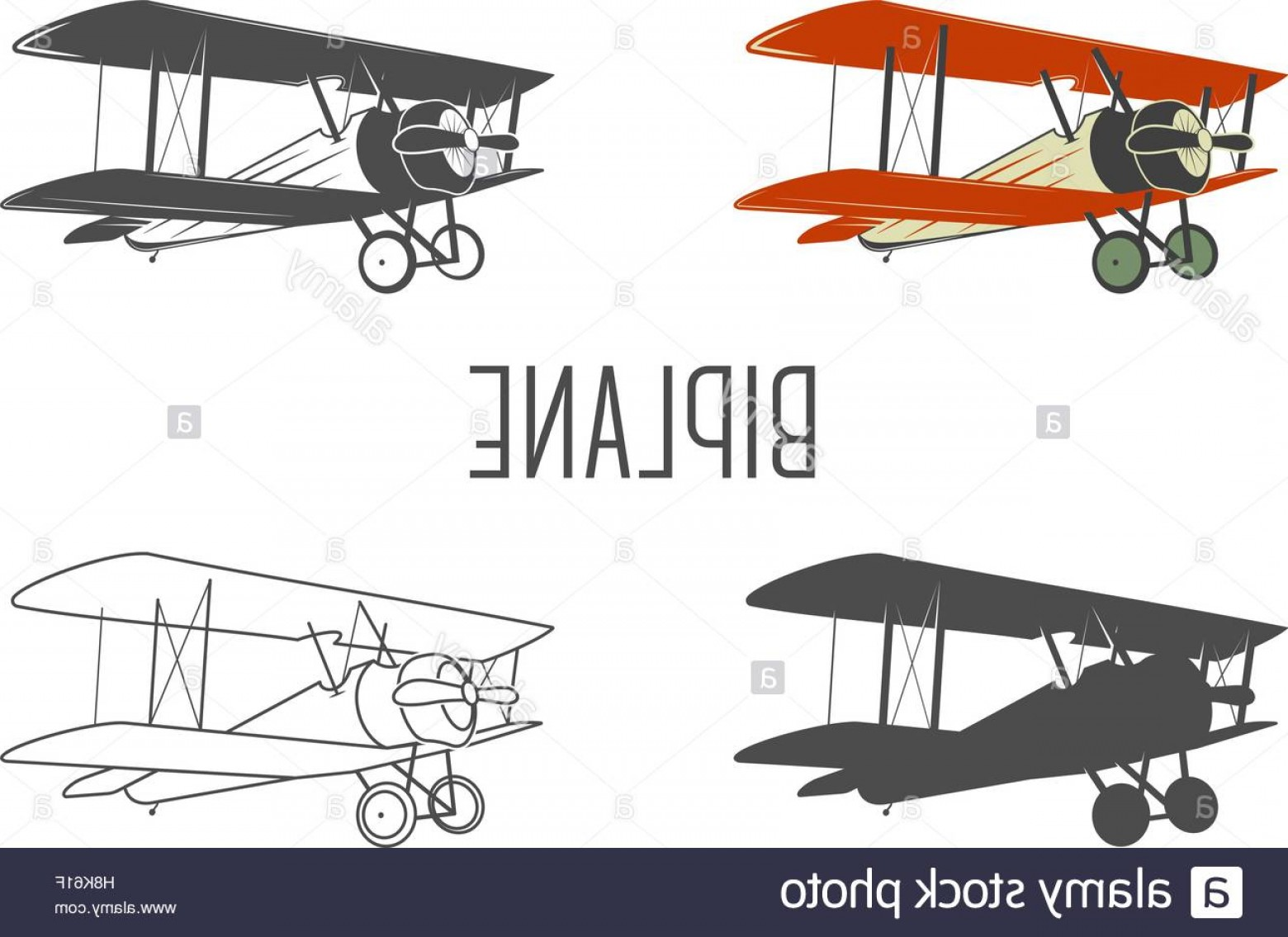 Old School Airplane Fighter Silhouette Vector: Stock Photo Set Of Vintage Aircraft Design Elements Retro Biplanes In Color Line