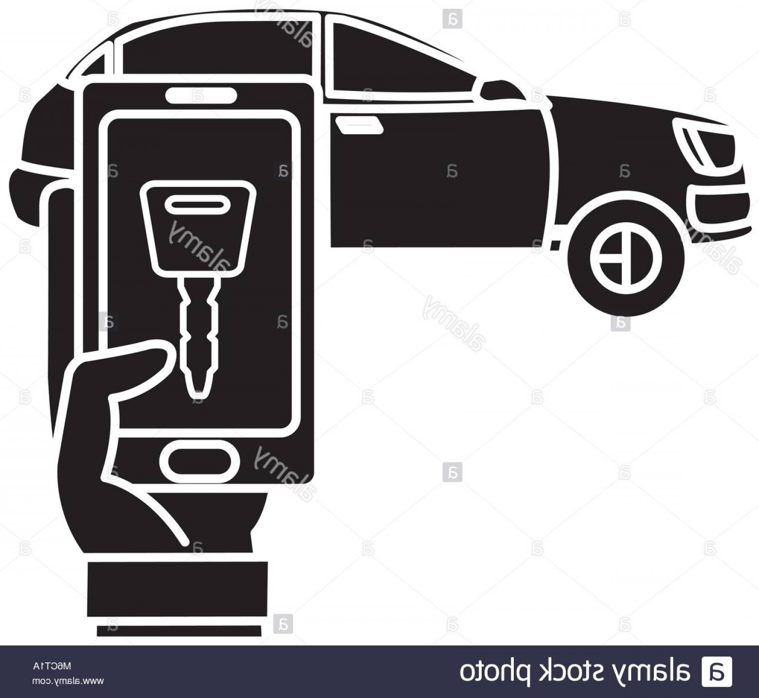 Digital Vector Silhouette: Stock Photo Silhouette Car And Man Hand With Smartphone Digital Key