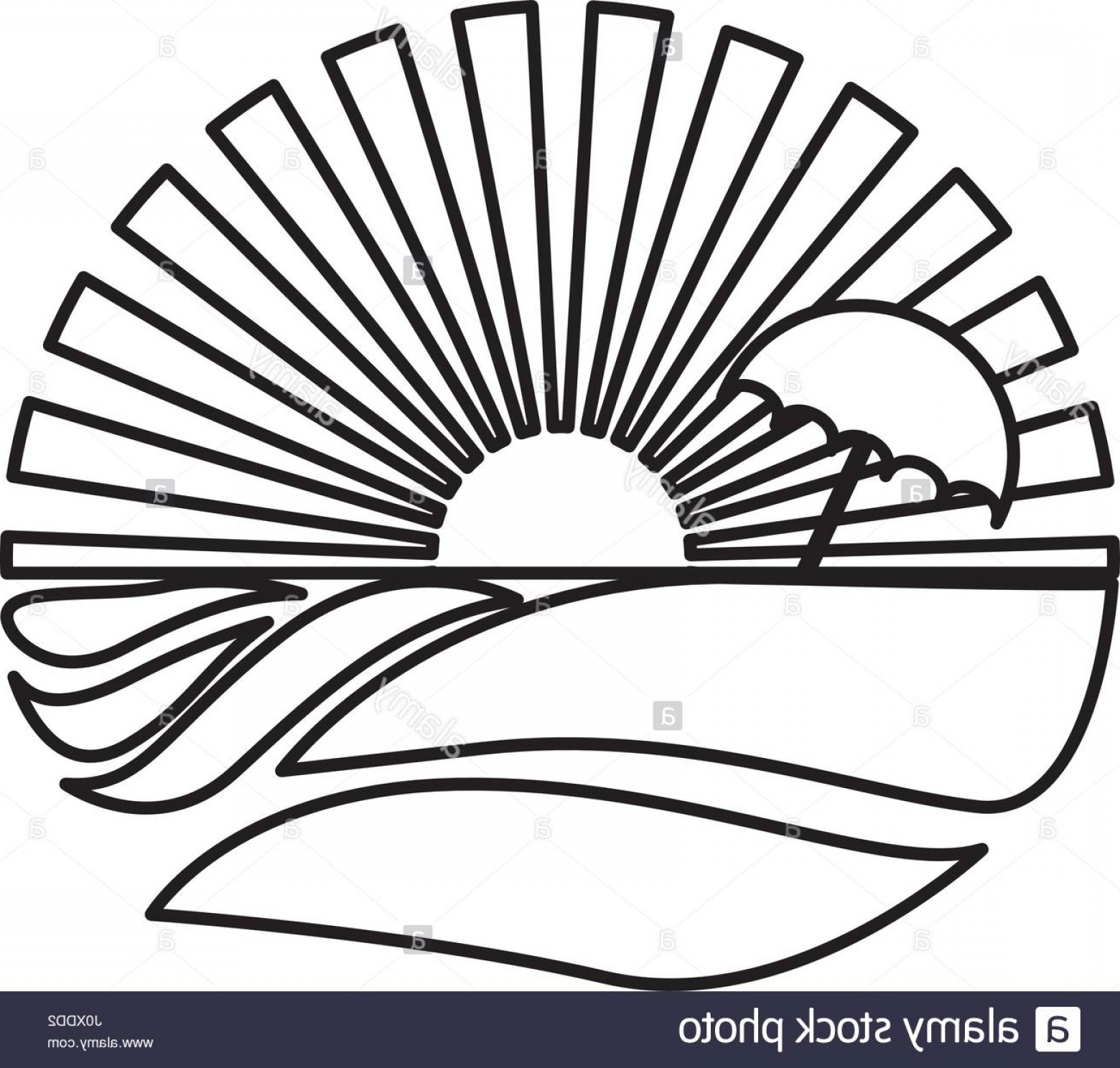 Sunset Beach Vector Outline: Stock Photo Silhouette Circular Background Sunset With Beach And Umbrella