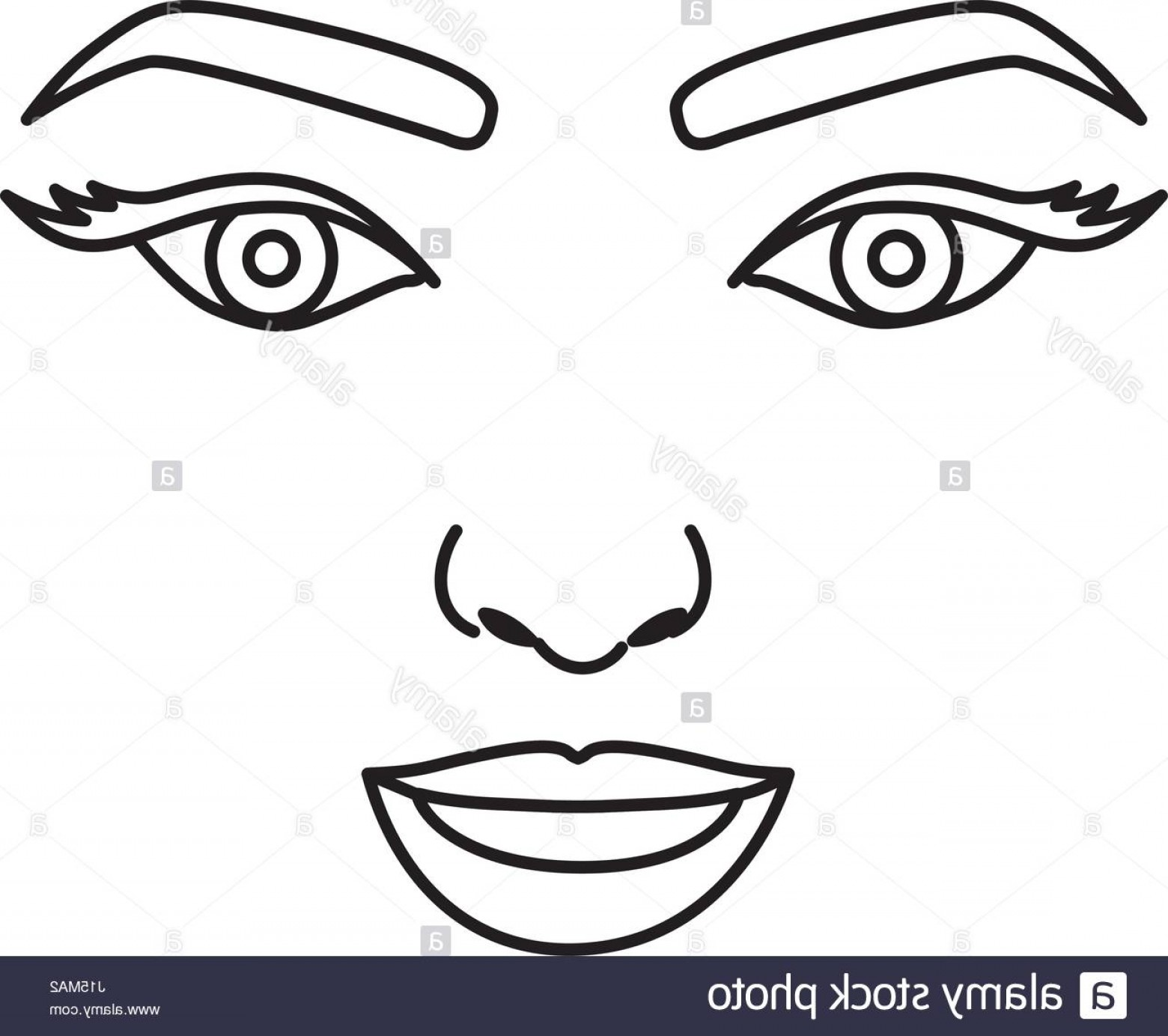 Woman Silhouette Vector Face Expression: Stock Photo Silhouette Drawing Of Woman Face With Open Eyes And Smiling