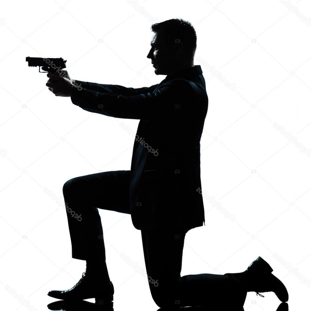James Bond Silhouette Vector: Stock Photo Silhouette Man Kneeling Aiming Gun