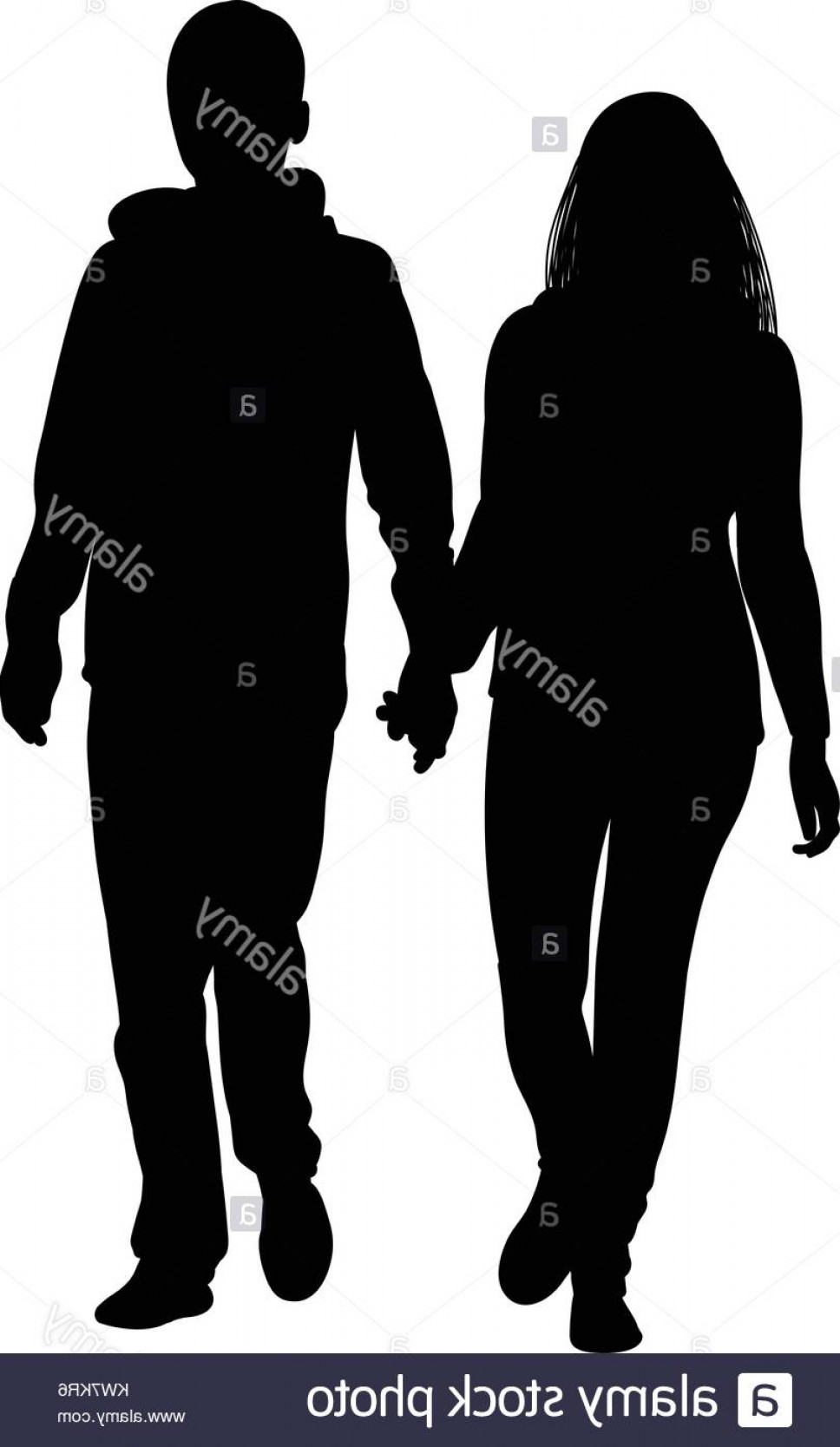 Male Silhouette Vector Art: Stock Photo Silhouette Of A Girl And A Young Man Walking Alongside Hand In Hand