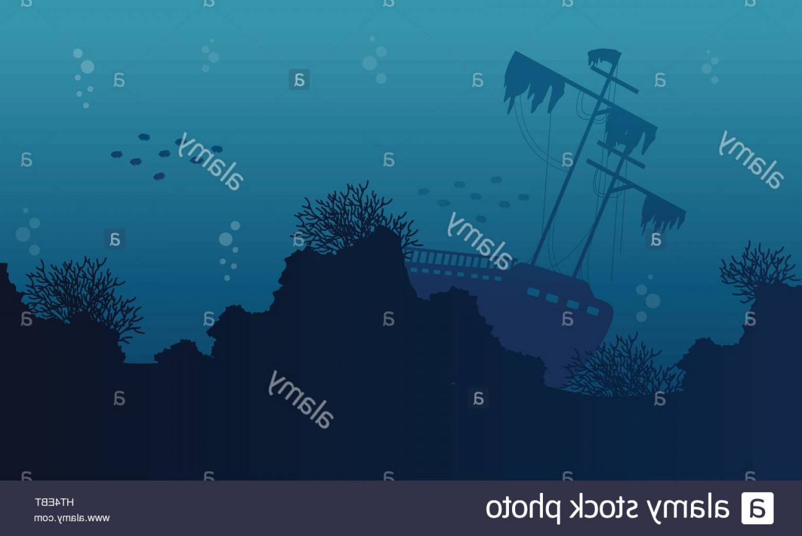 Underwater Sea Vector Art: Stock Photo Silhouette Of Ship On Underwater Collection Landscape
