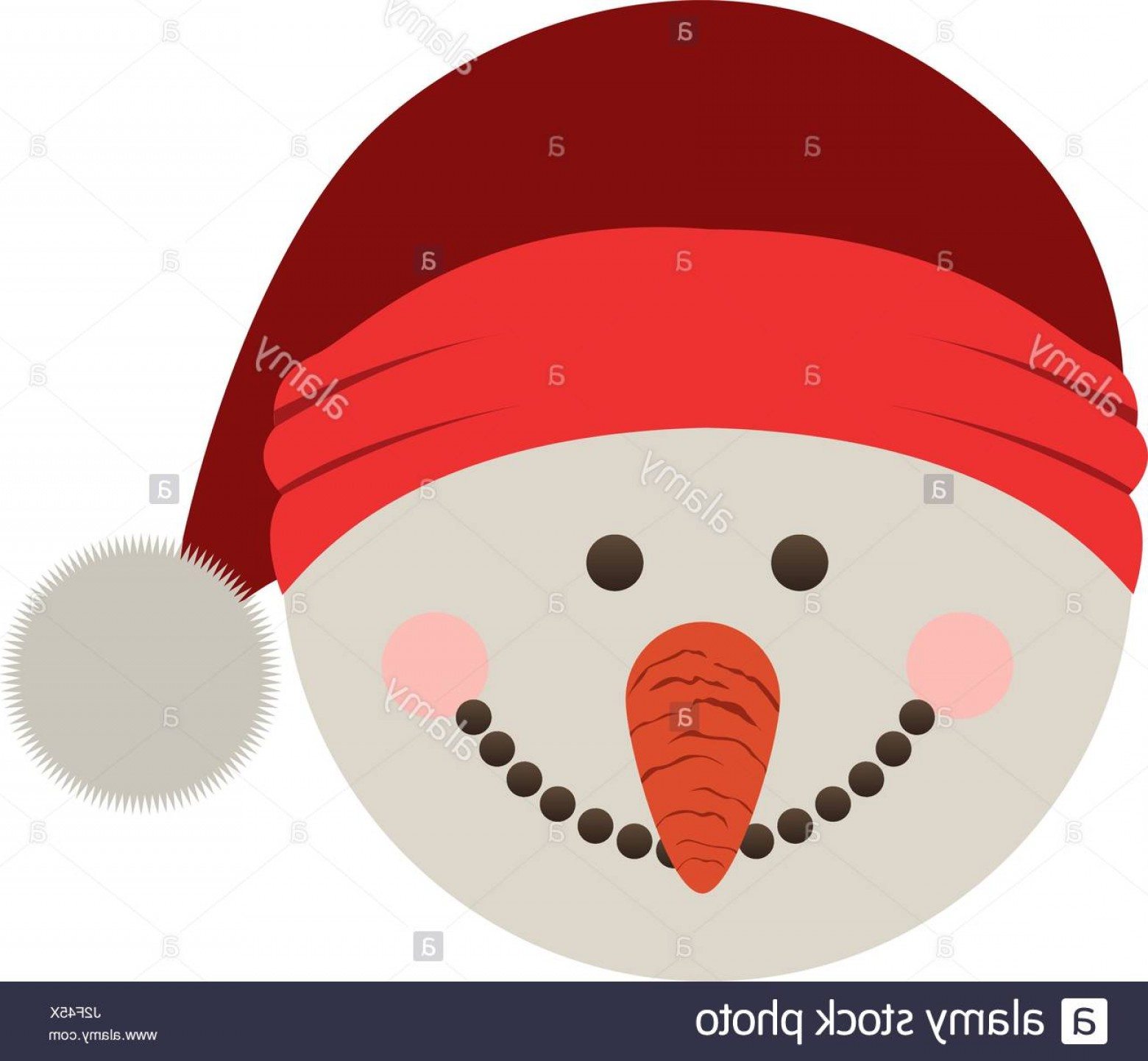 Santa Hat Vector Logo: Stock Photo Silhouette Of Snowman Head With Christmas Hat