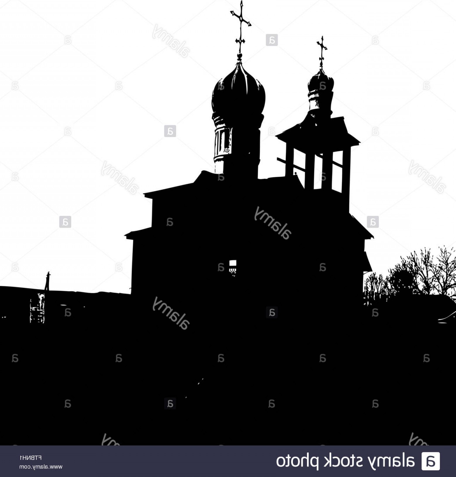 Church Silhouette Vector: Stock Photo Silhouette Of The Old Church Vector Illustration