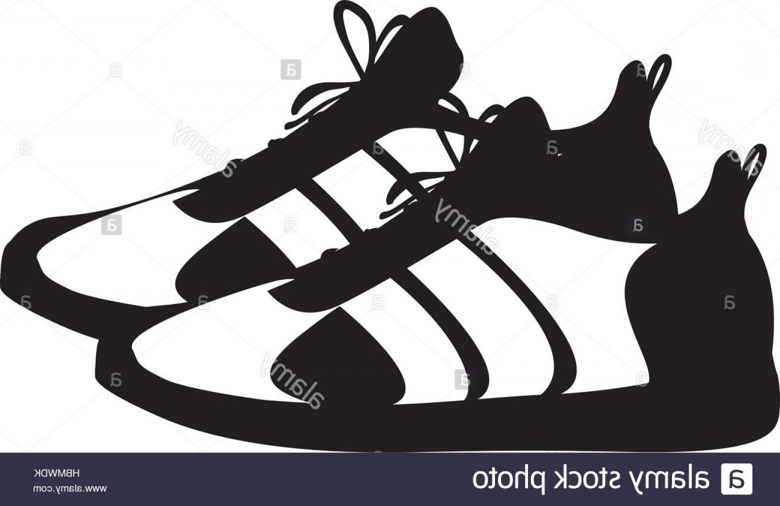 Sneaker Silhouette Vector: Stock Photo Silhouette Pair Black Fitness Sneakers Design Icon Vector Illustration