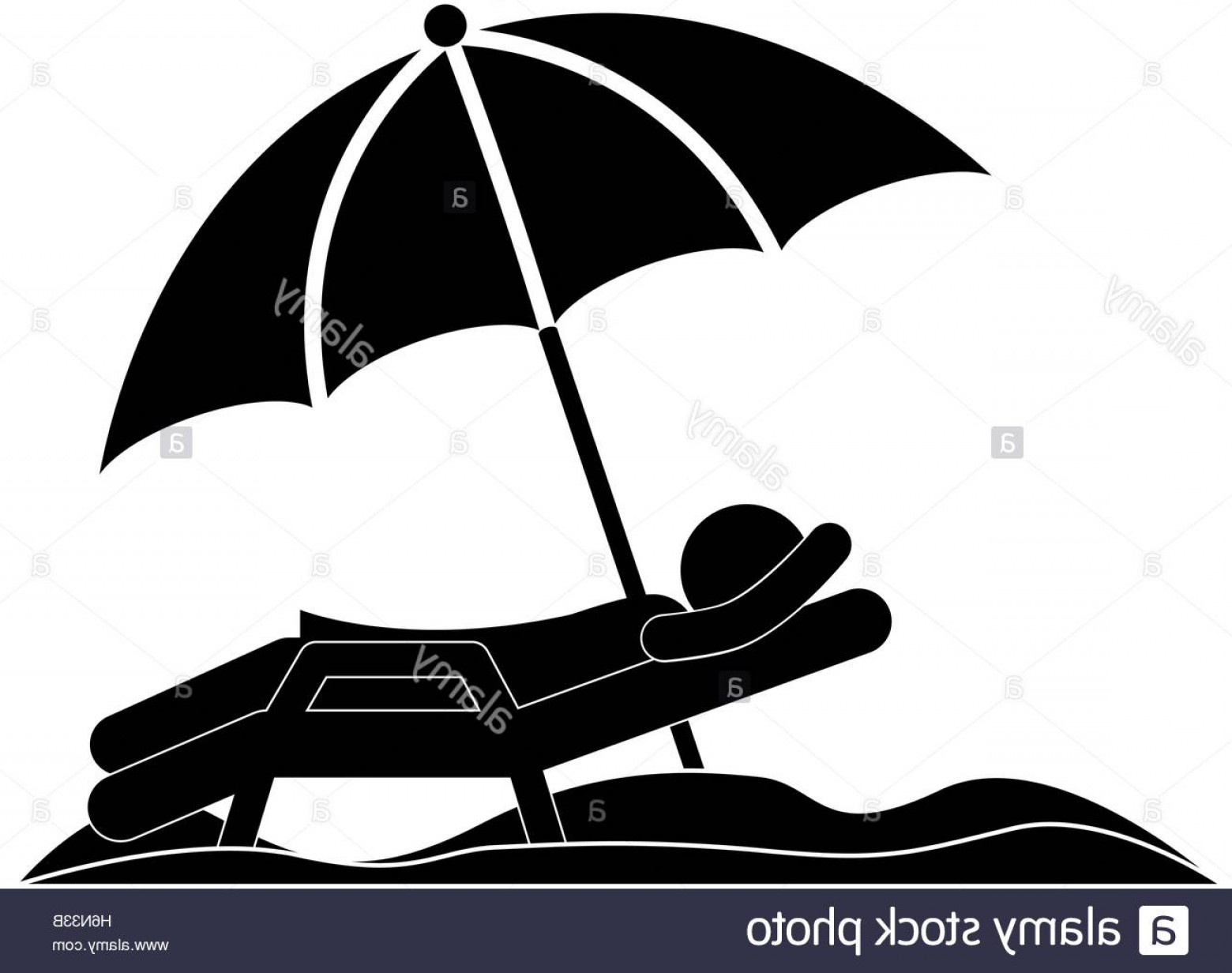 Umbrella Vector Black: Stock Photo Silhouette Person In Beach Chair With Umbrella Vector Illustration
