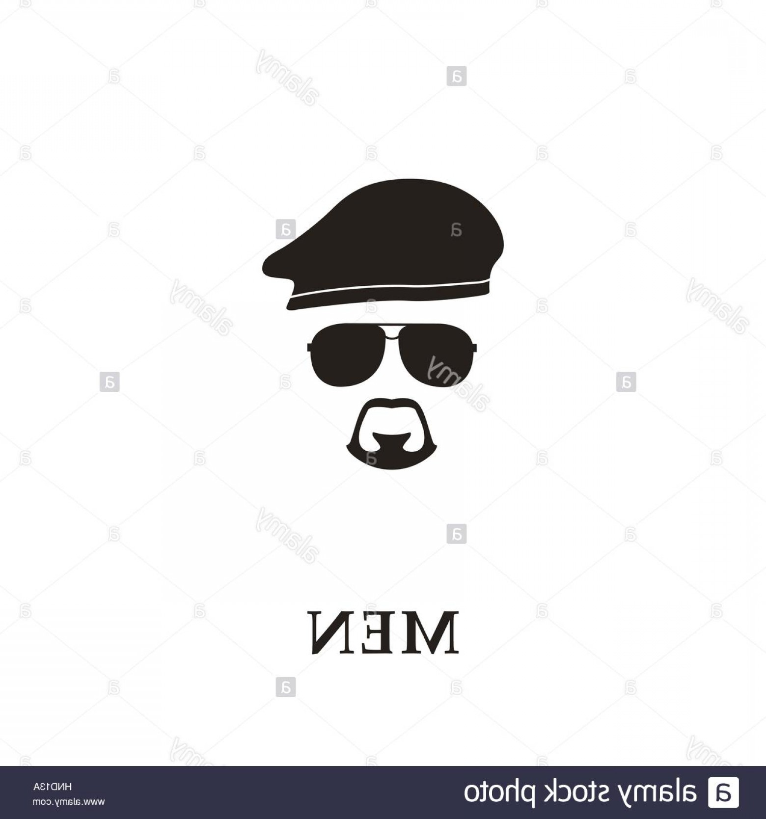 Beret Hat Vector: Stock Photo Silhouette Soldier With Beret Sunglasses And Goatee Vector Illustration