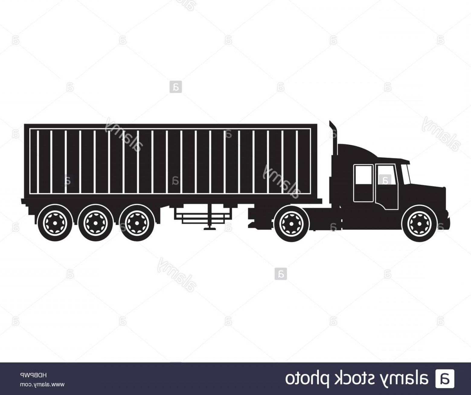 Vector Truck And Trailer Hauling: Stock Photo Silhouette Truck Trailer Container Delivery Transport