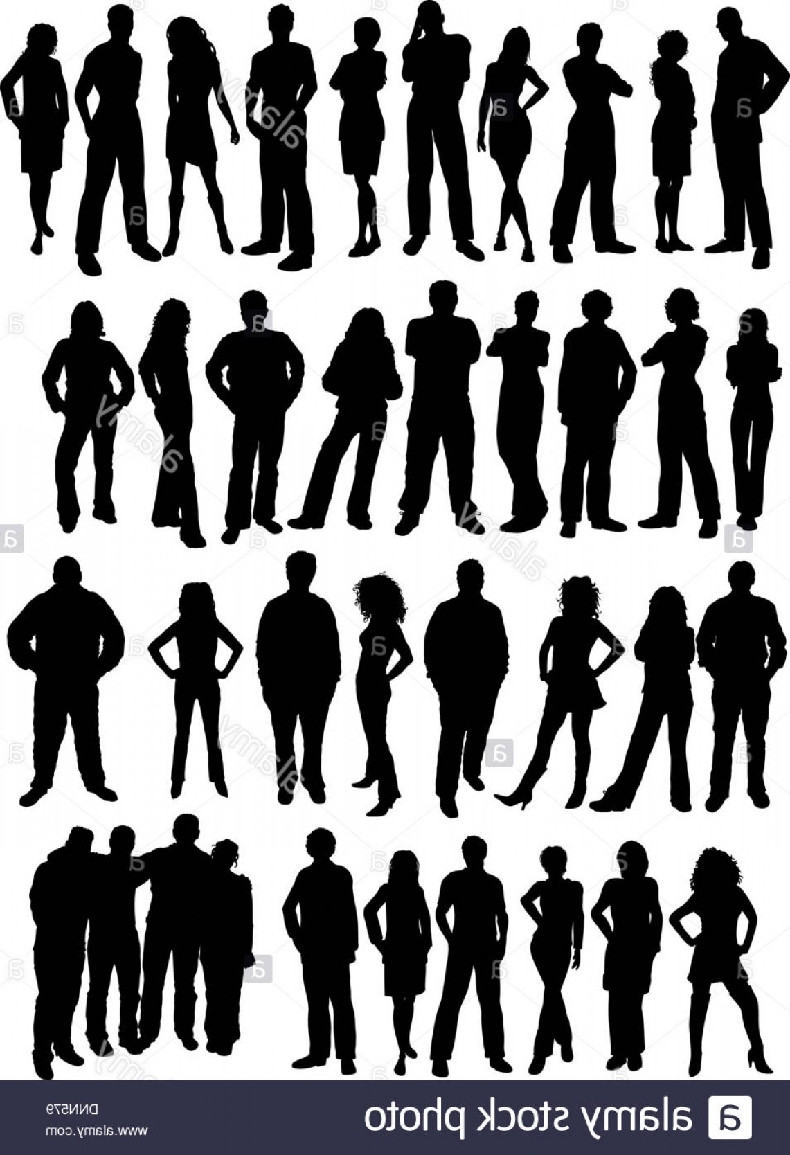 Male Silhouette Vector Art: Stock Photo Silhouettes Of Casual People