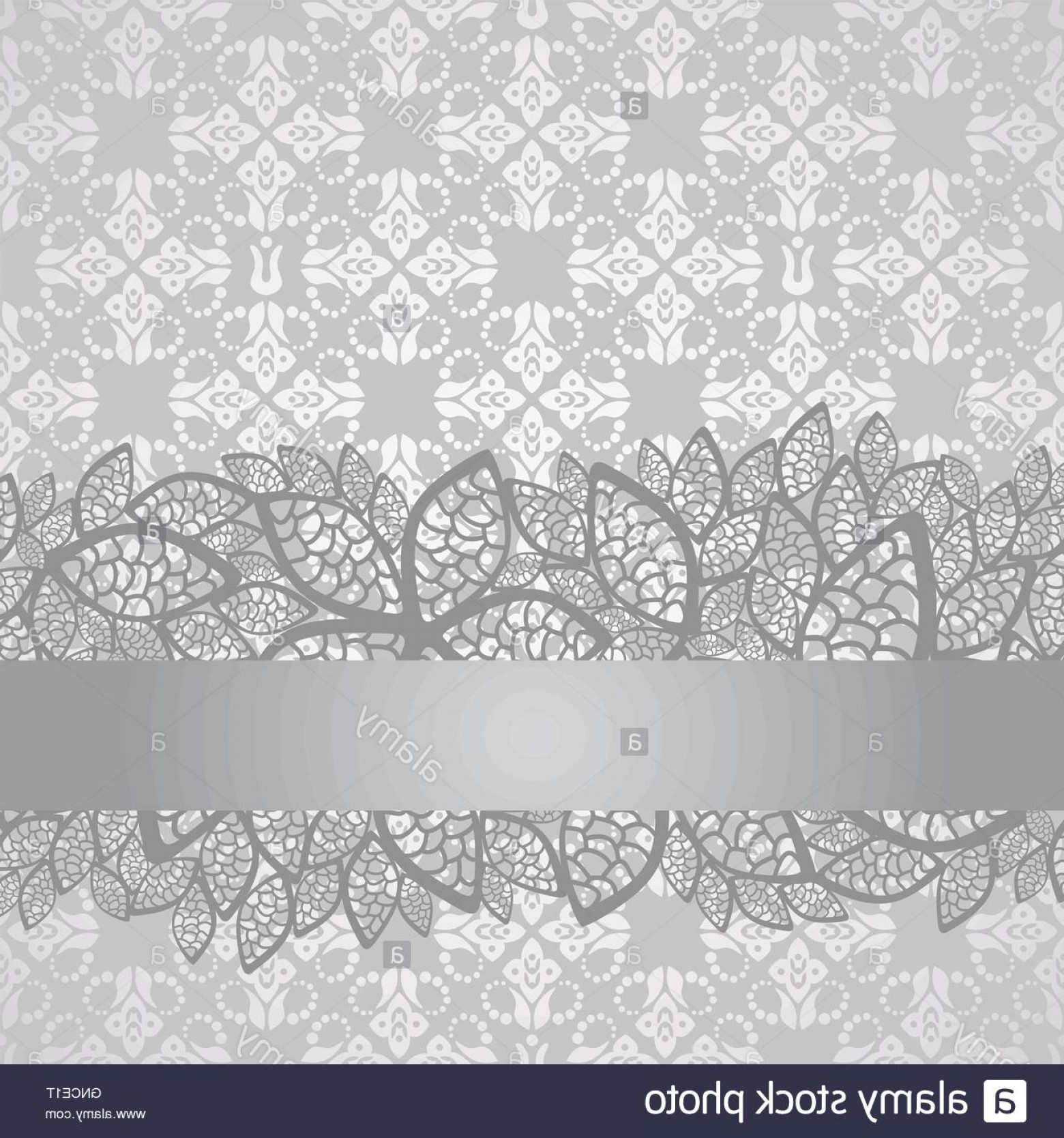 Tulle Black Lace Pattern Vector: Stock Photo Silver Lace Border On Floral Silver Wallpaper