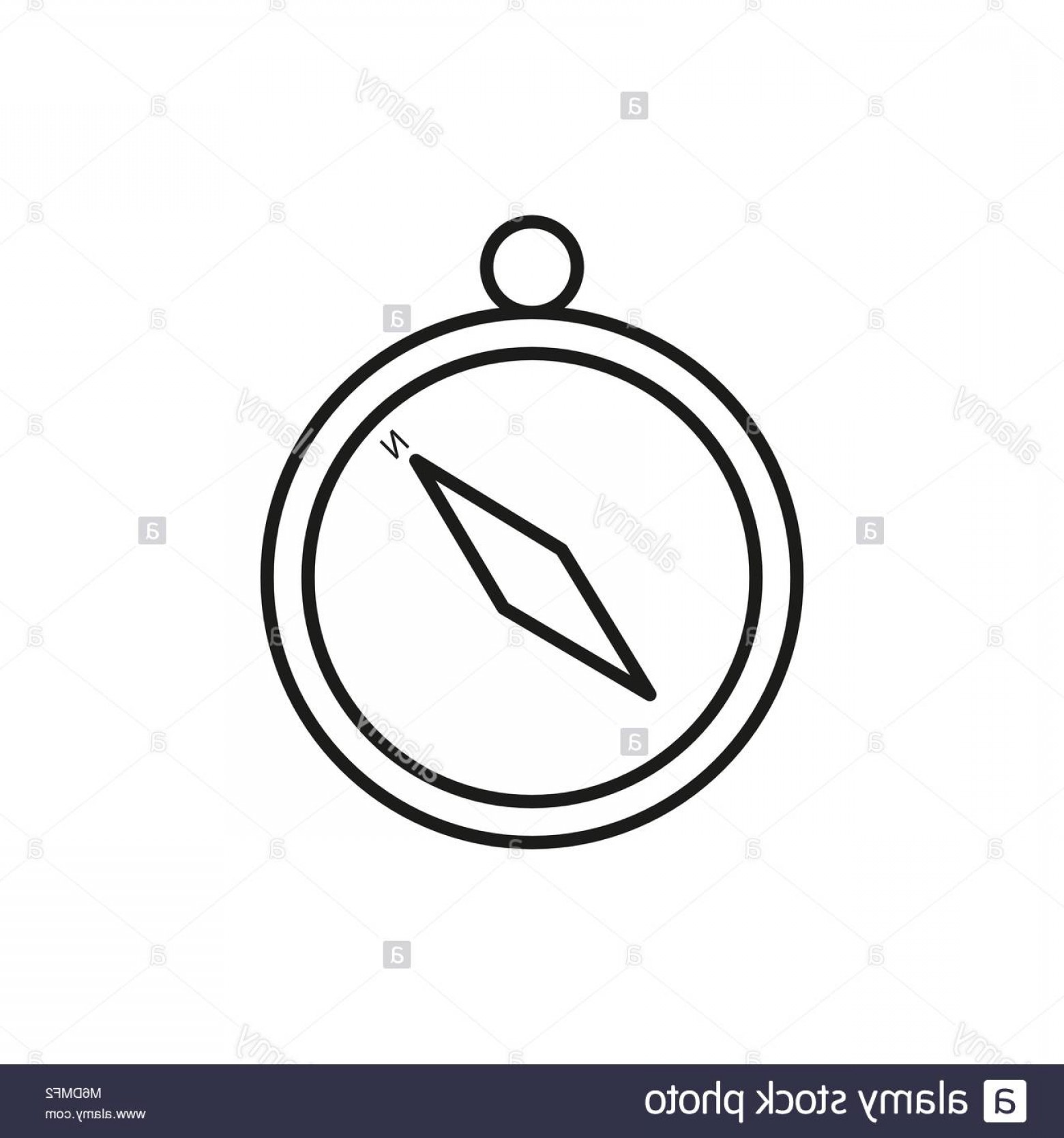 Simple Compass Vector Black And White: Stock Photo Simple Compass Adventure Thin Line Icon Symbol Vector Illustration