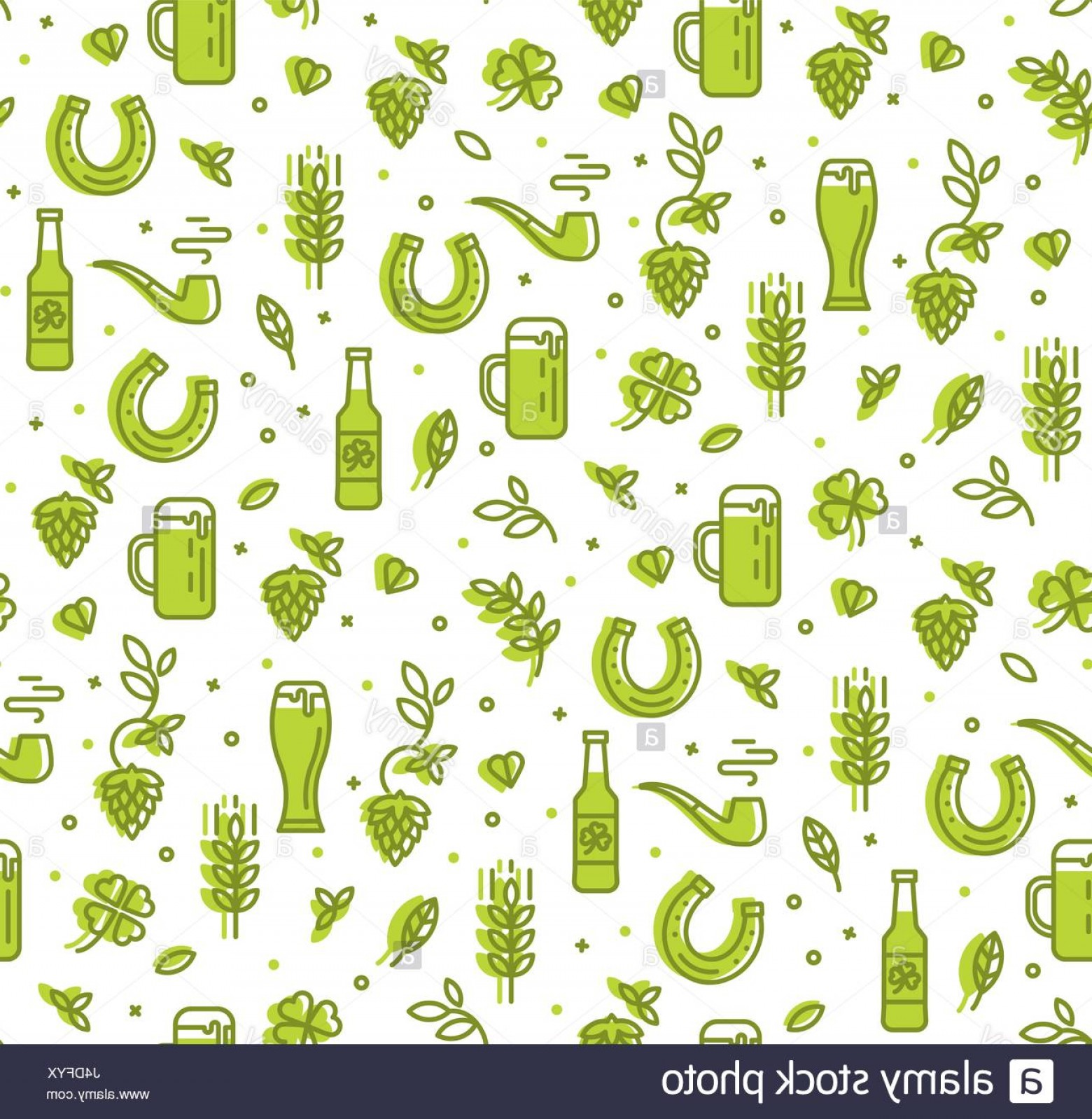 Beer Hops Vector: Stock Photo Simple Seamless Pattern With Beer Hops Horseshoe Pattern Pub Restaurant