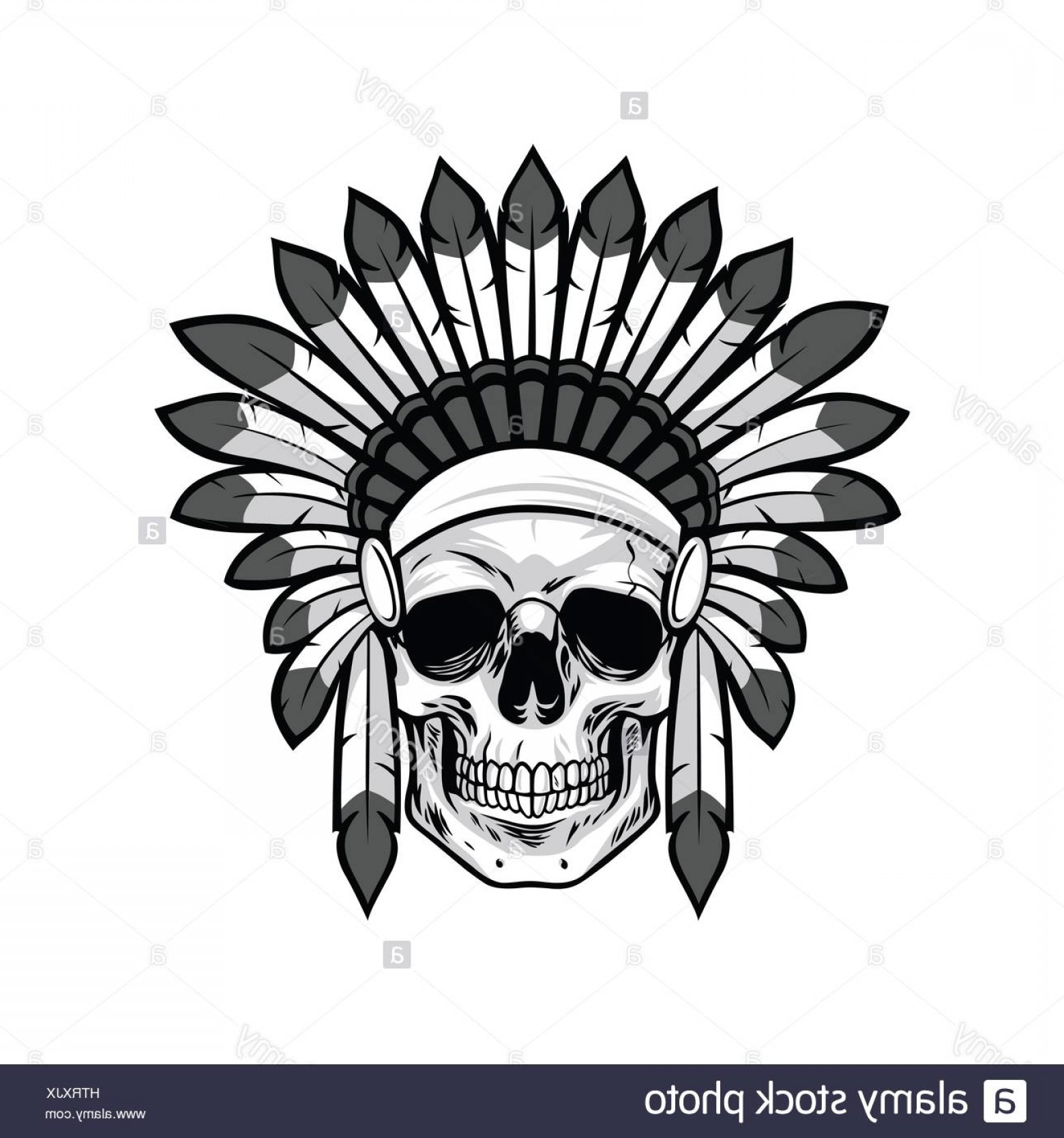 Warrior Vector Art: Stock Photo Skull Of Native American Warrior Vector Illustration
