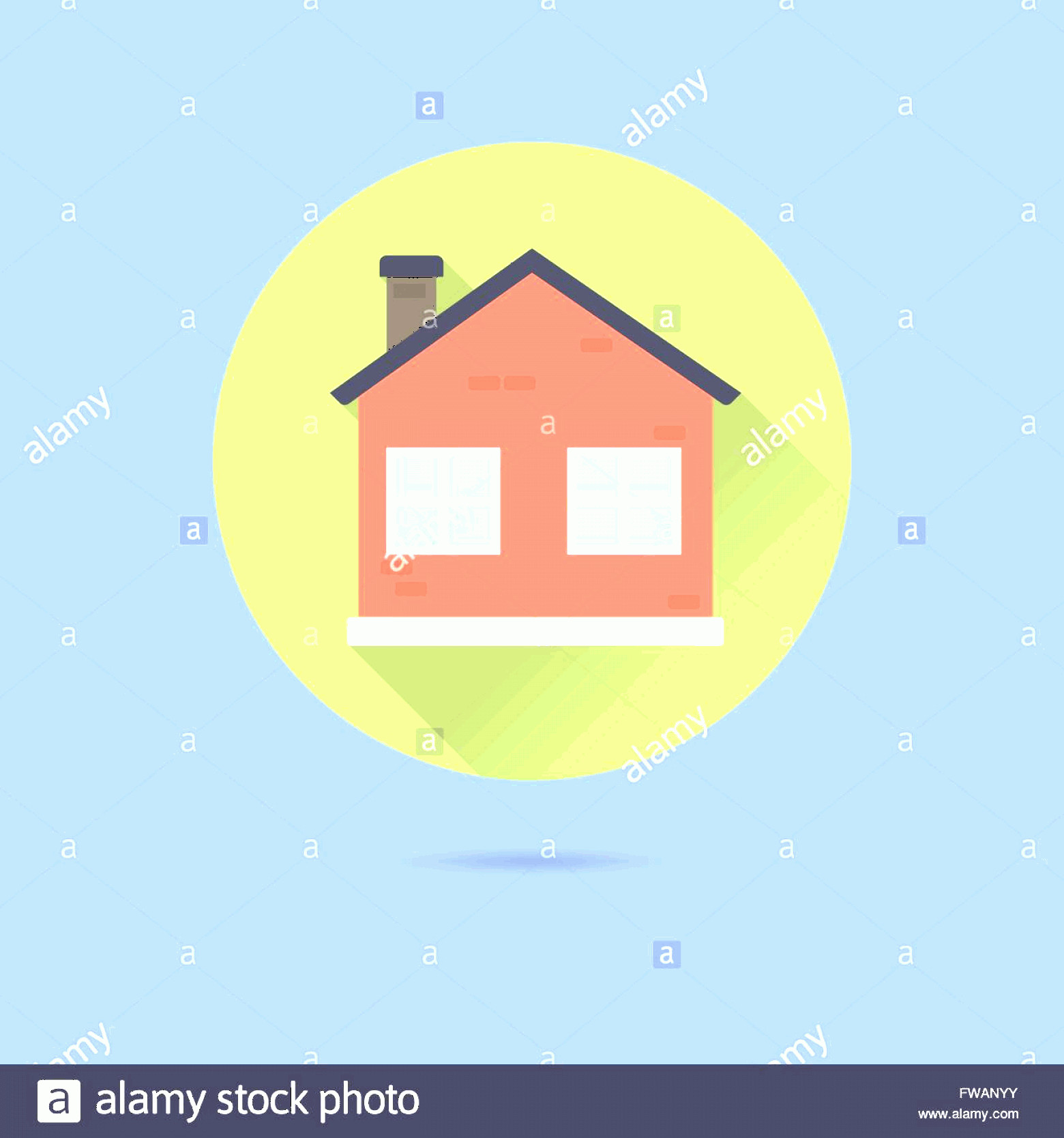 Flat Vector House: Stock Photo Small House Flat Design Long Shadow Vector Icon