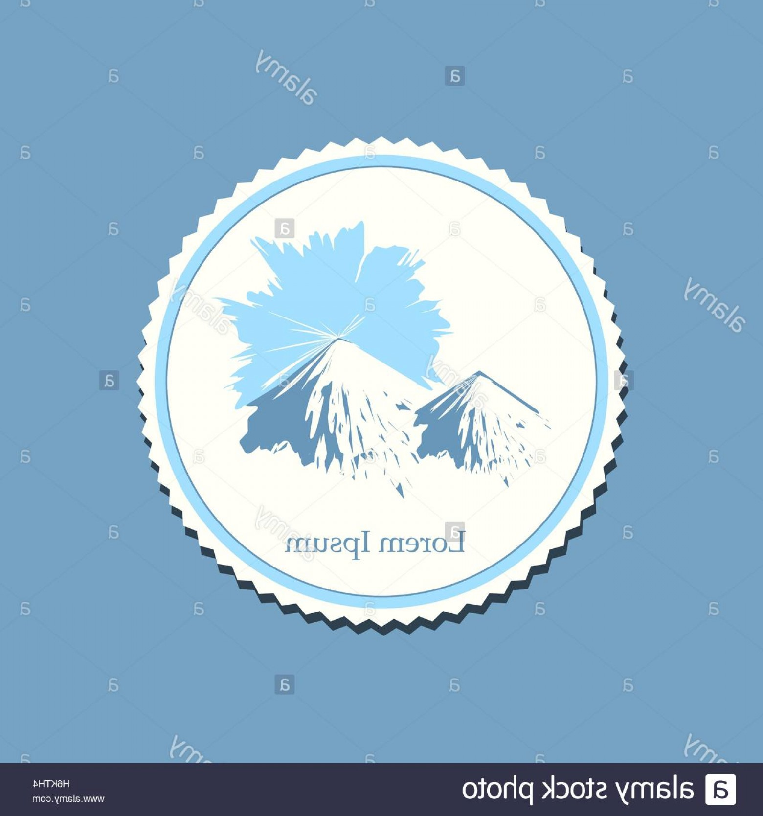 Snowy Mountain Vector Graphics: Stock Photo Snowy Mountain Sunrise Drawing Label Travel Badge Vector Illustration