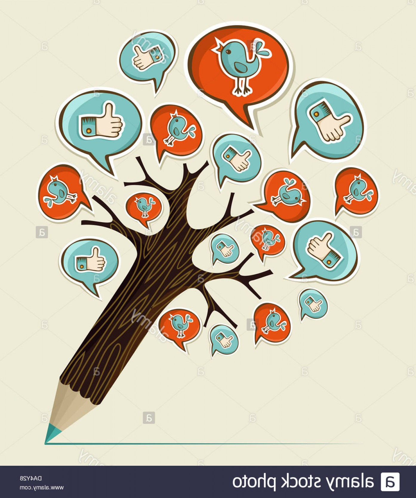 Pencil Icon Vectors Social Media: Stock Photo Social Media Hand Drawn Icons Concept Pencil Tree Vector Illustration