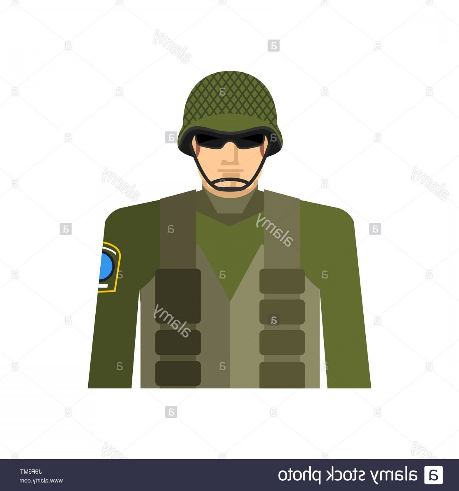 Vector Special Forces Helmet: Stock Photo Soldier Portrait Military In Protective Helmet And Flak Jacket Special
