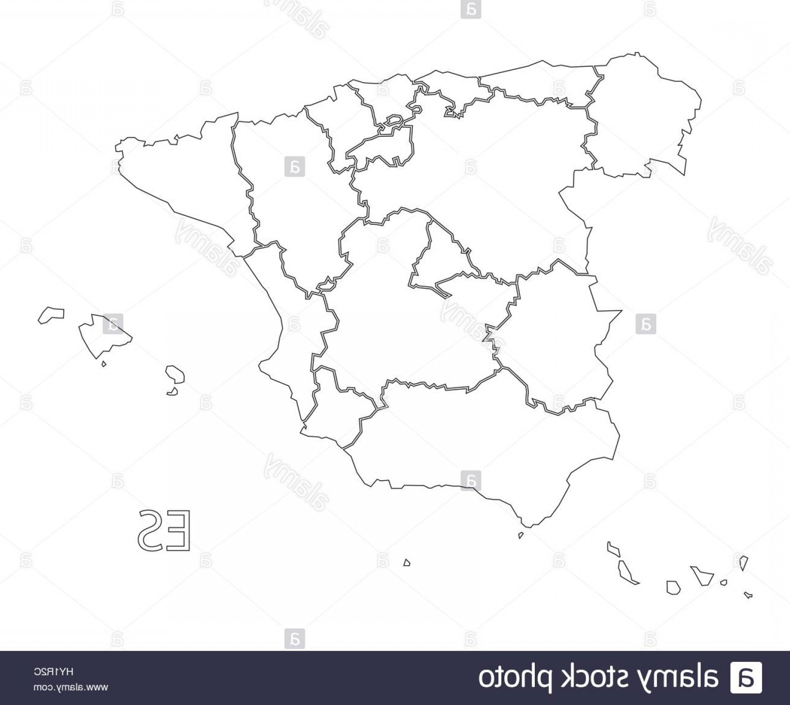 Spain Outline Vector: Stock Photo Spain Outline Silhouette Map Illustration With Provinces