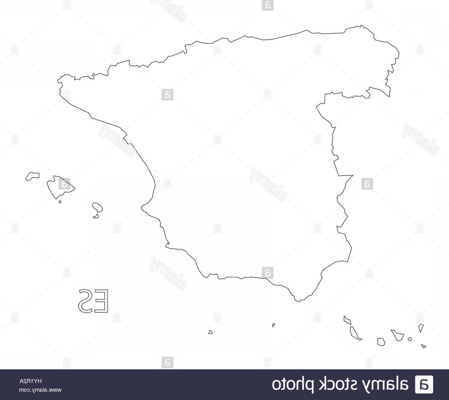 Spain Outline Vector: Stock Photo Spain Outline Silhouette Map Illustration