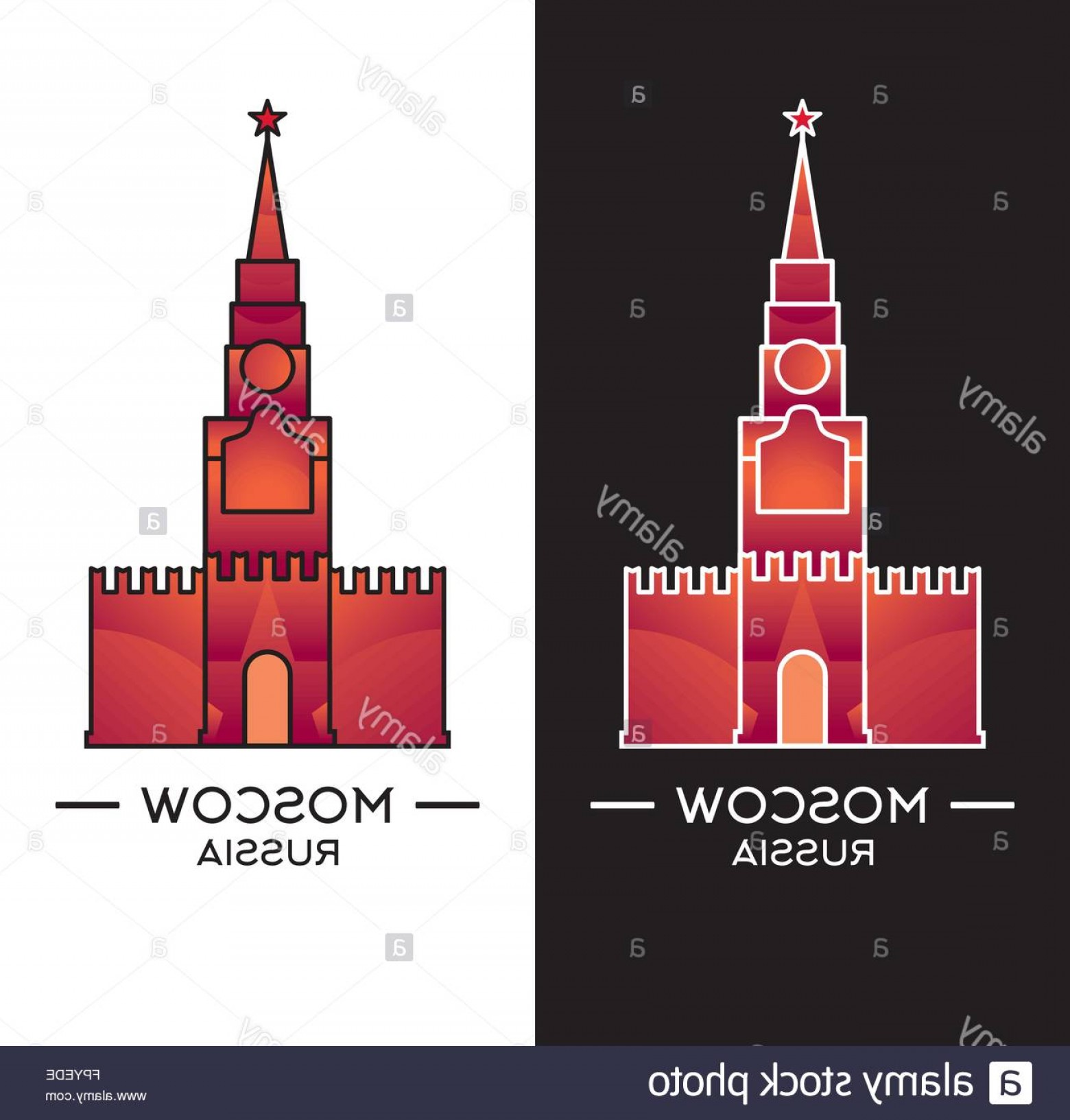 Kaya Vector: Stock Photo Spasskaya Tower Isolated On White And Black Background Vector Illustration